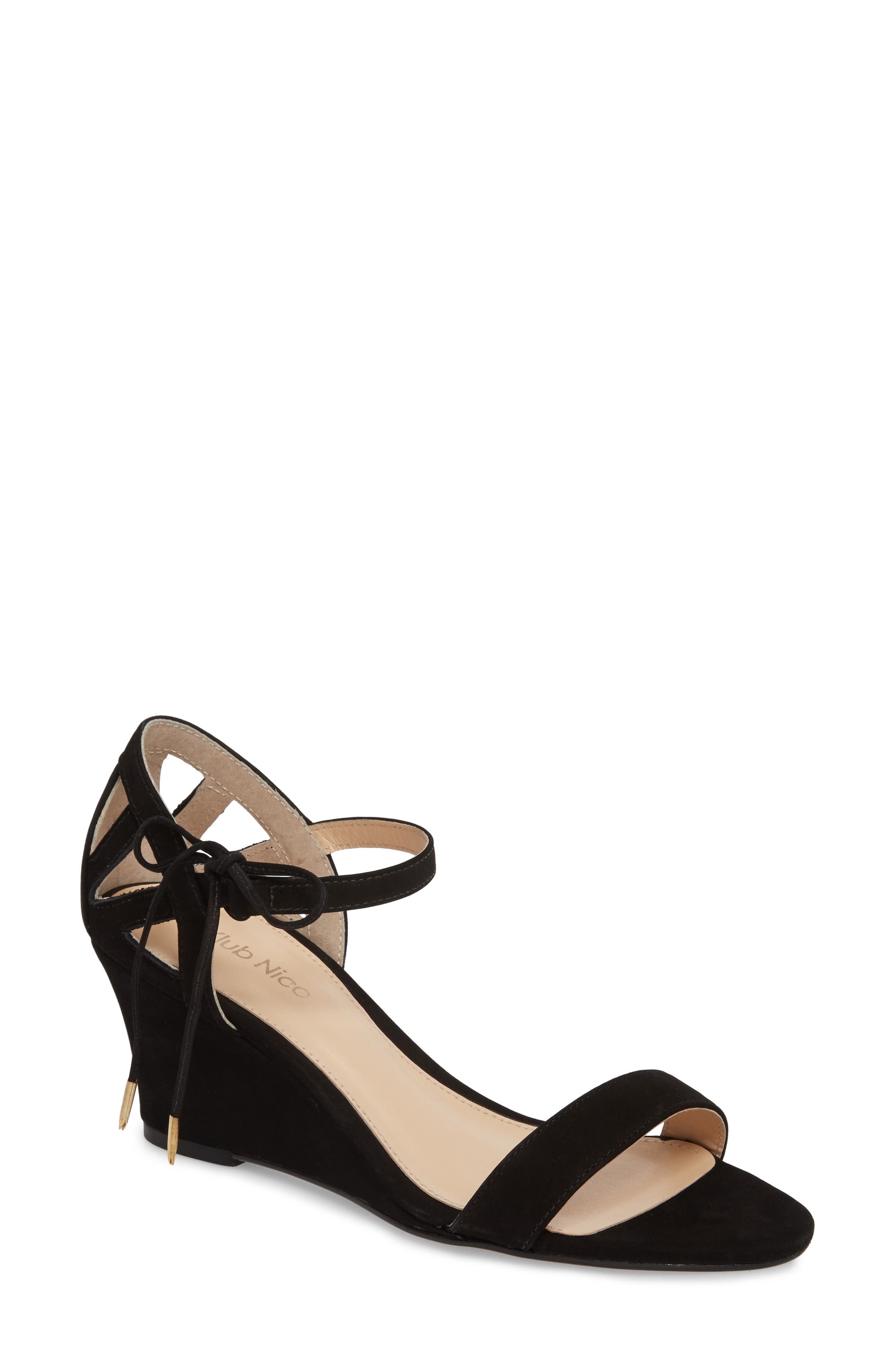 Kaeli Wedge Sandal,                         Main,                         color, BLACK LEATHER