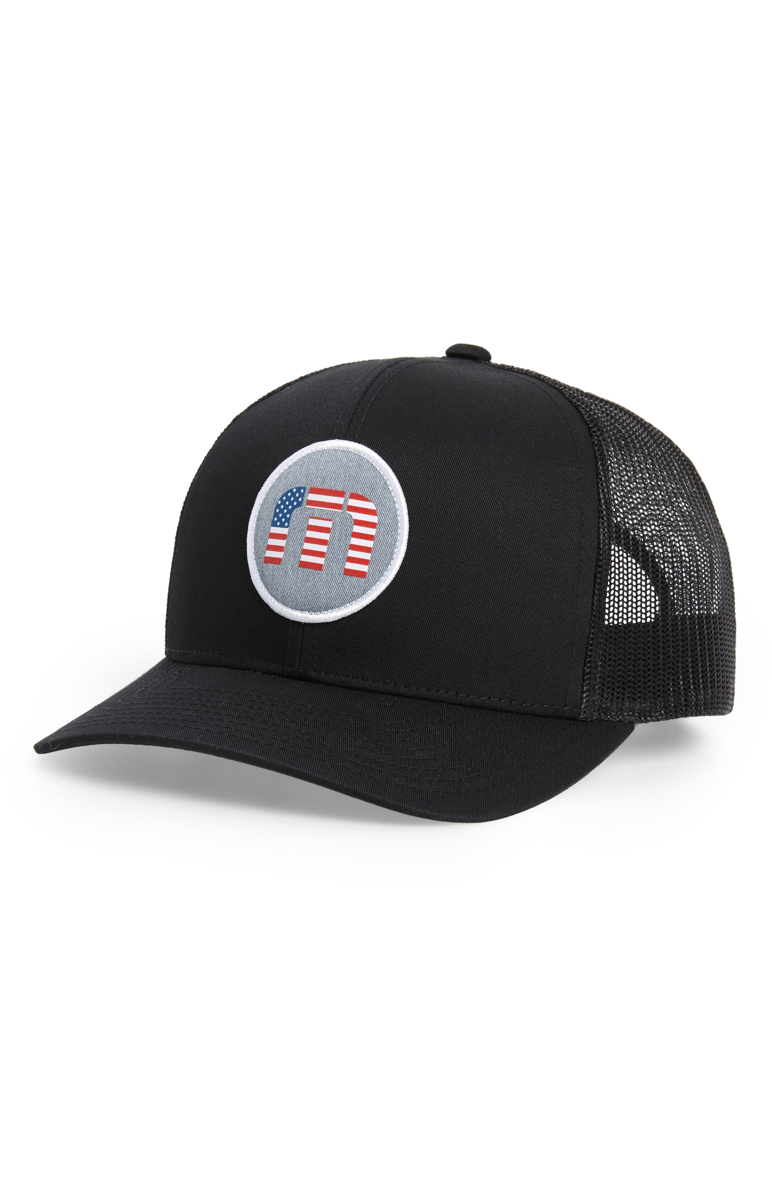 Claery Trucker Hat,                         Main,                         color, BLACK