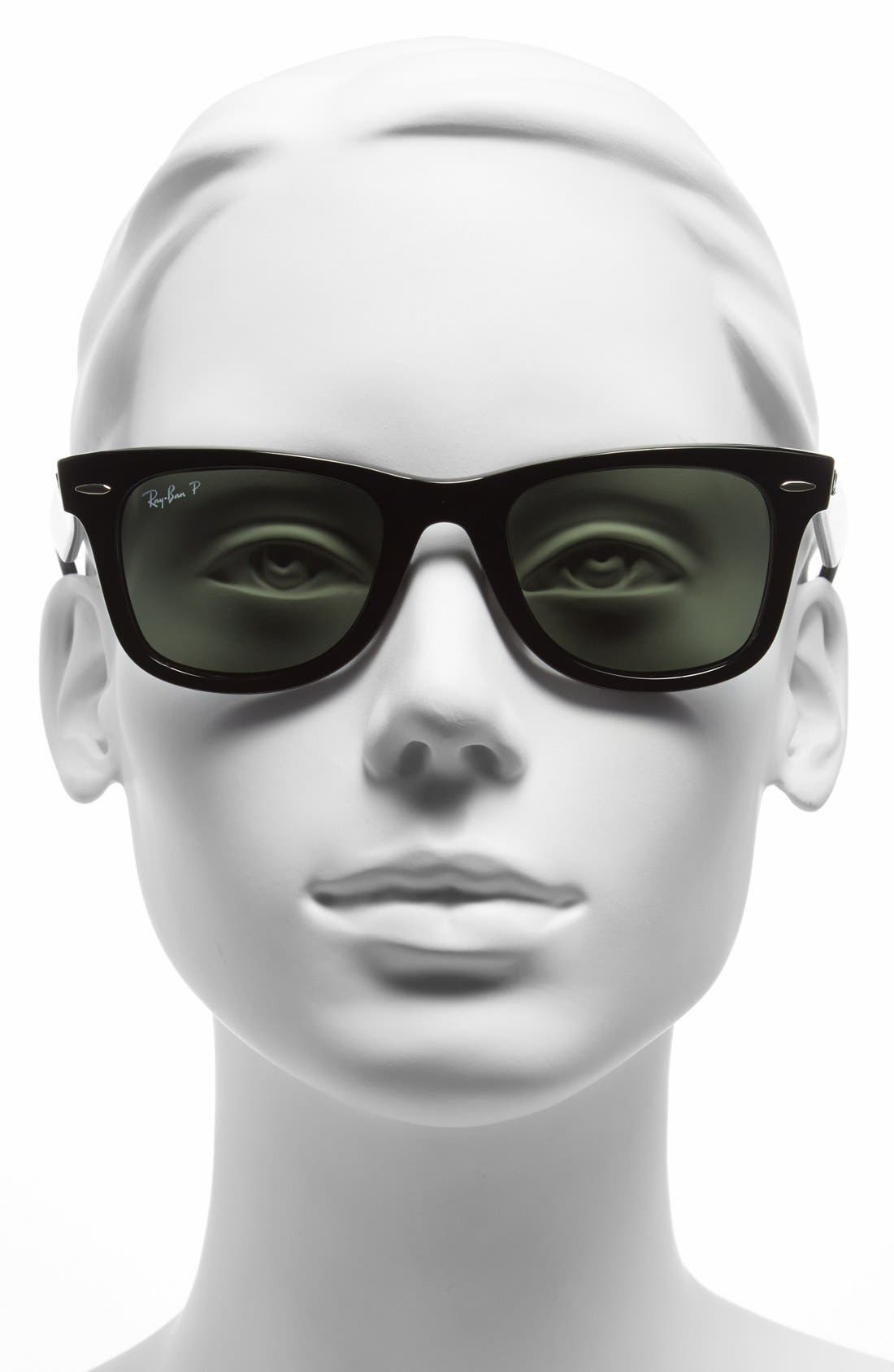Standard Classic Wayfarer 50mm Polarized Sunglasses,                             Alternate thumbnail 2, color,                             BLACK POLARIZED