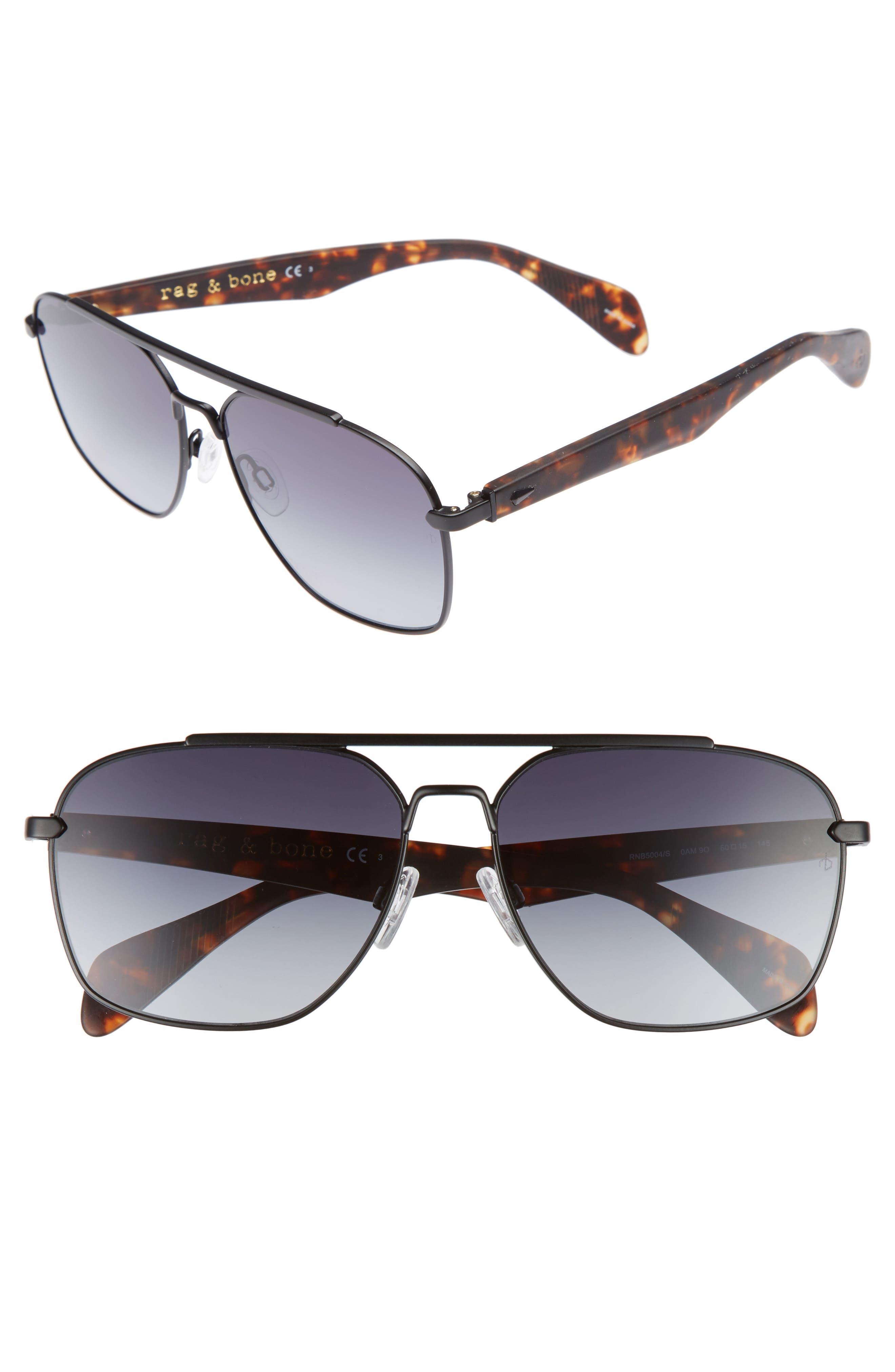 60mm Gradient Navigator Sunglasses,                         Main,                         color, MATTE BLACK/ HAVANA