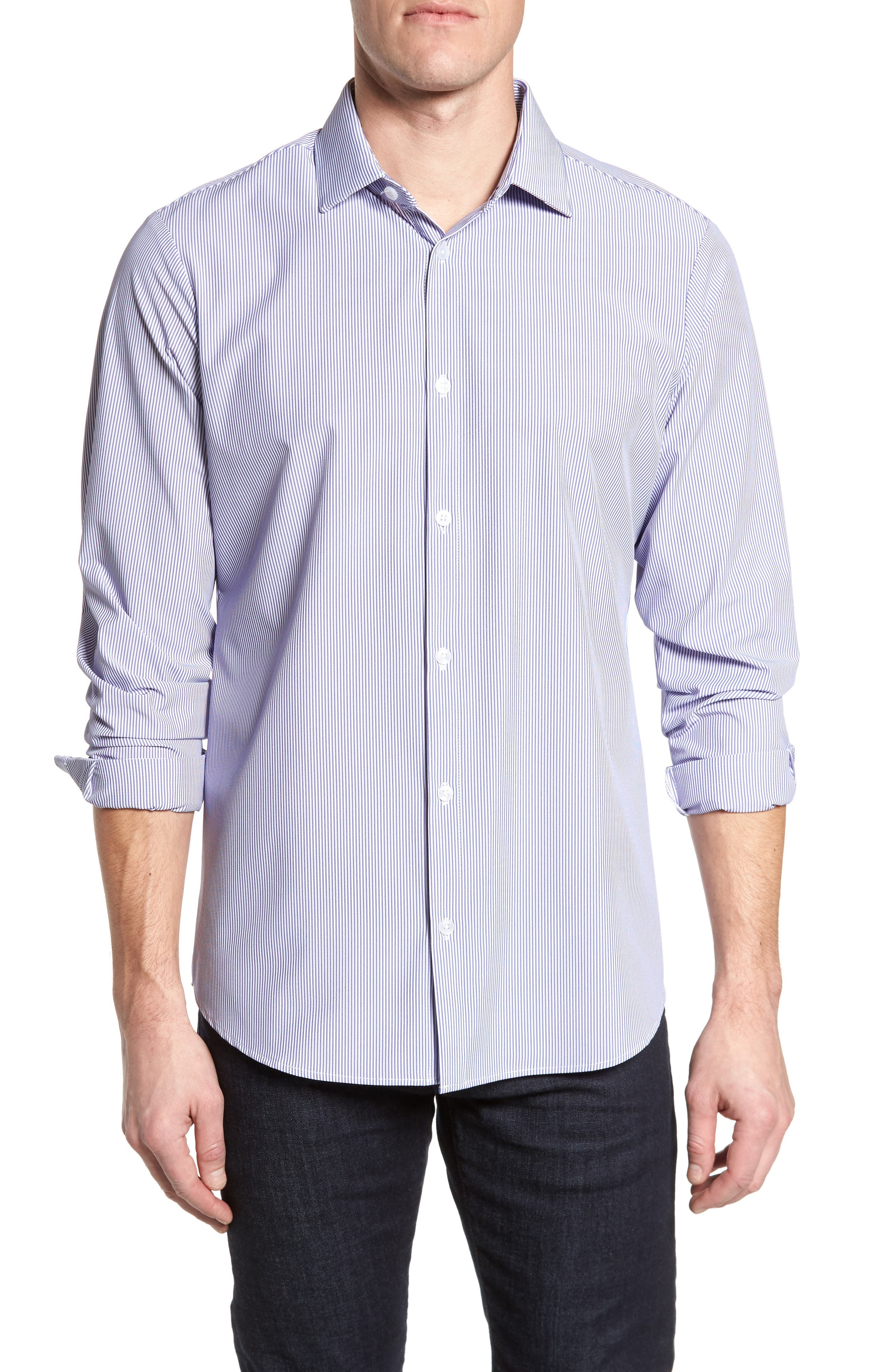 Newport Pinstripe Sport Shirt,                             Main thumbnail 1, color,