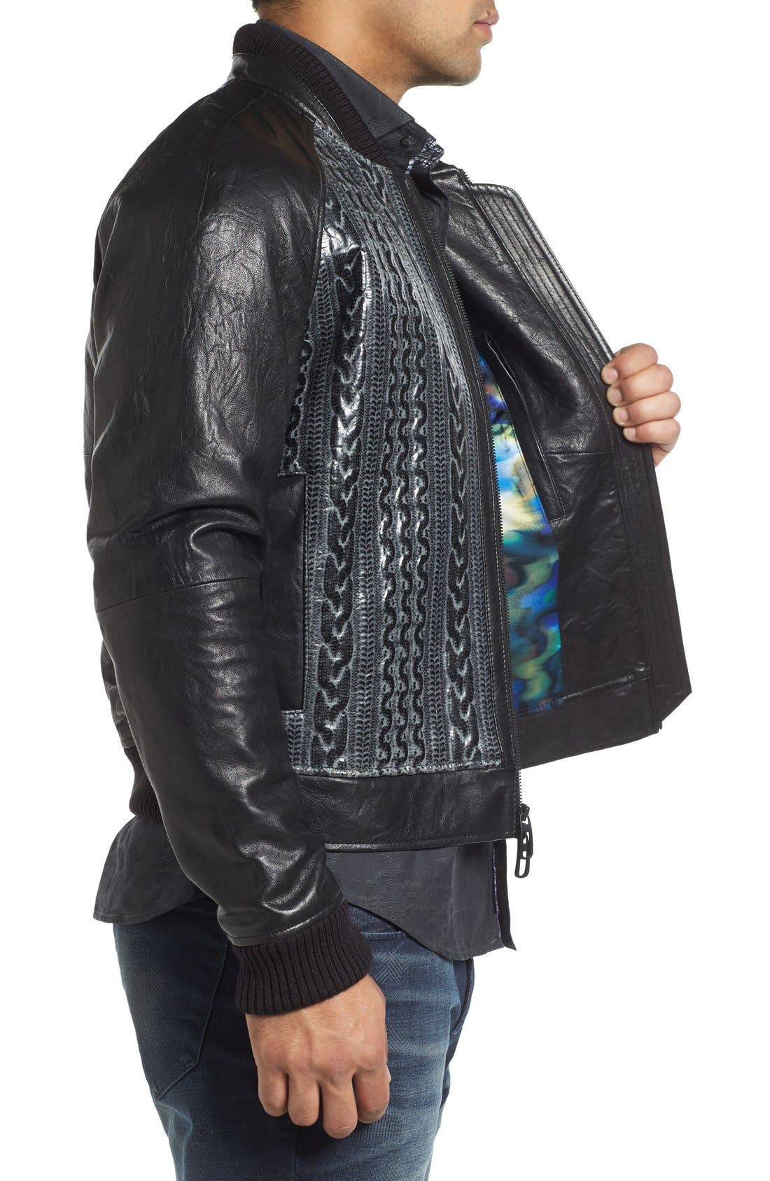 ROBERT GRAHAM,                             Romulus Goatskin Leather Jacket,                             Alternate thumbnail 3, color,                             001