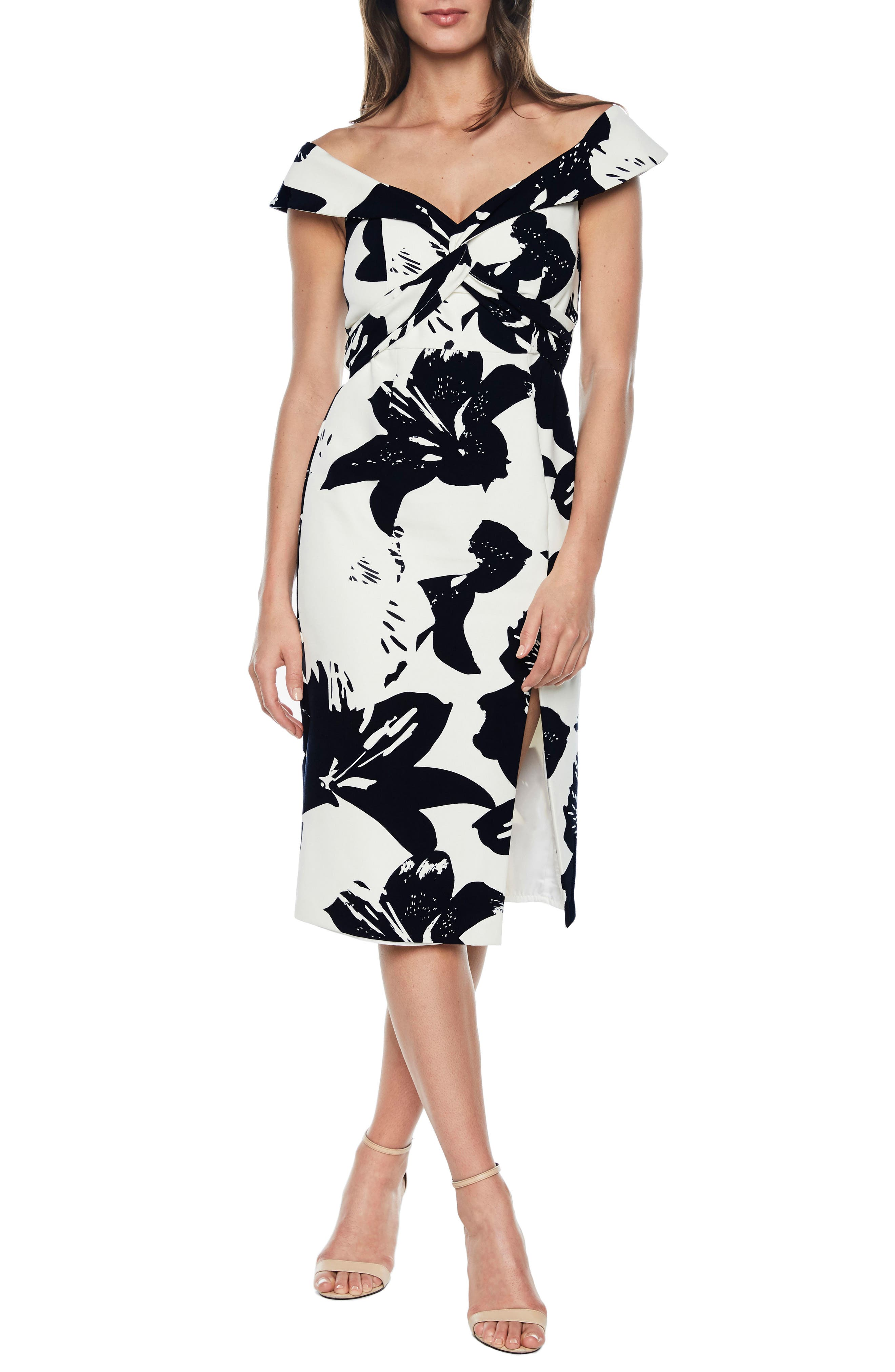 Botanica Off the Shoulder Dress,                         Main,                         color, 001