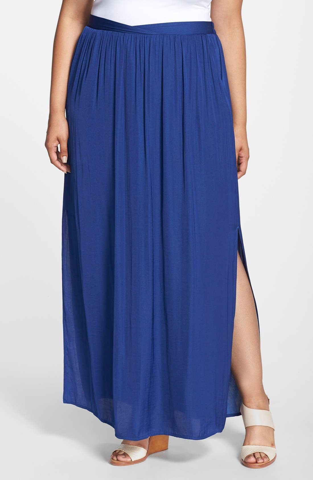 'Tarot' Side Slit Maxi Skirt, Main, color, 419