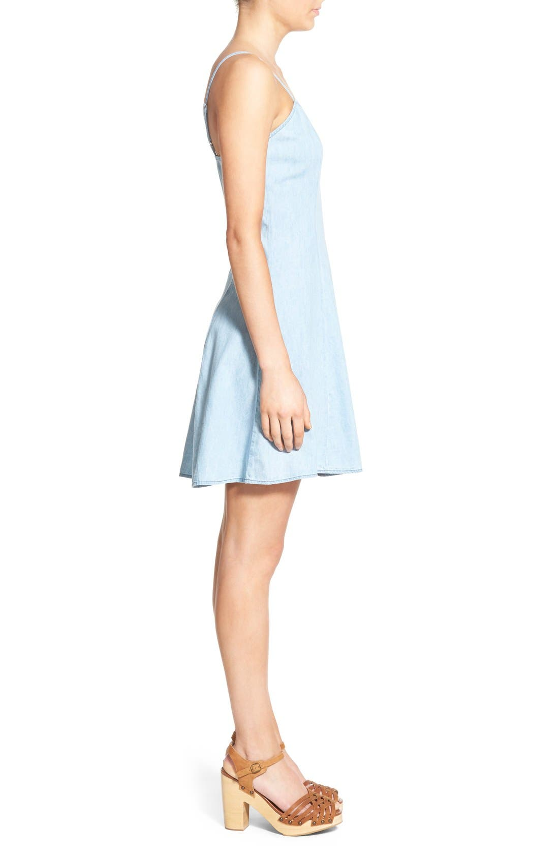 MIMI CHICA,                             Denim Skater Dress,                             Alternate thumbnail 2, color,                             401