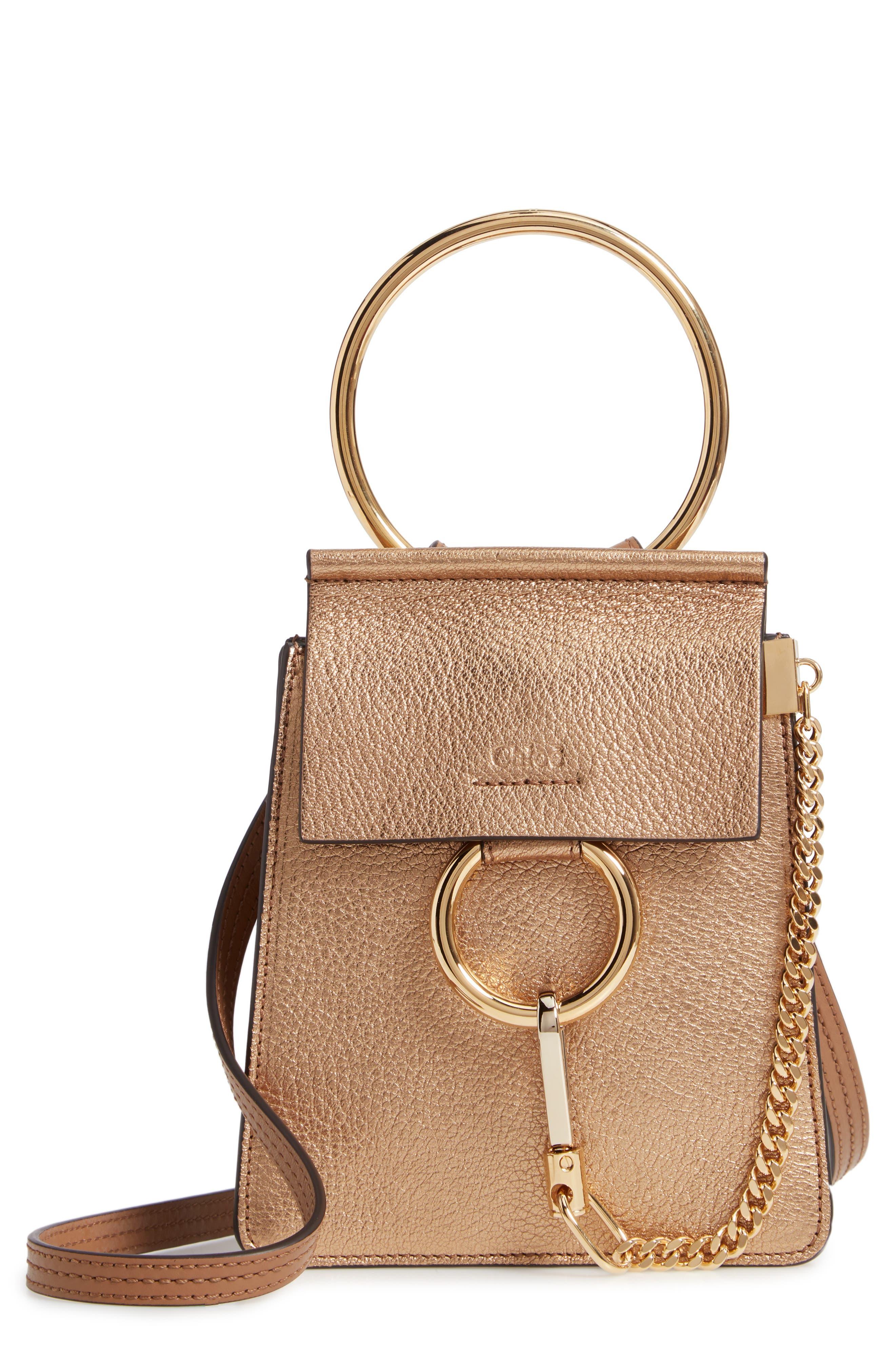 Faye Small Metallic Leather Bracelet Bag,                             Main thumbnail 1, color,                             GOLD