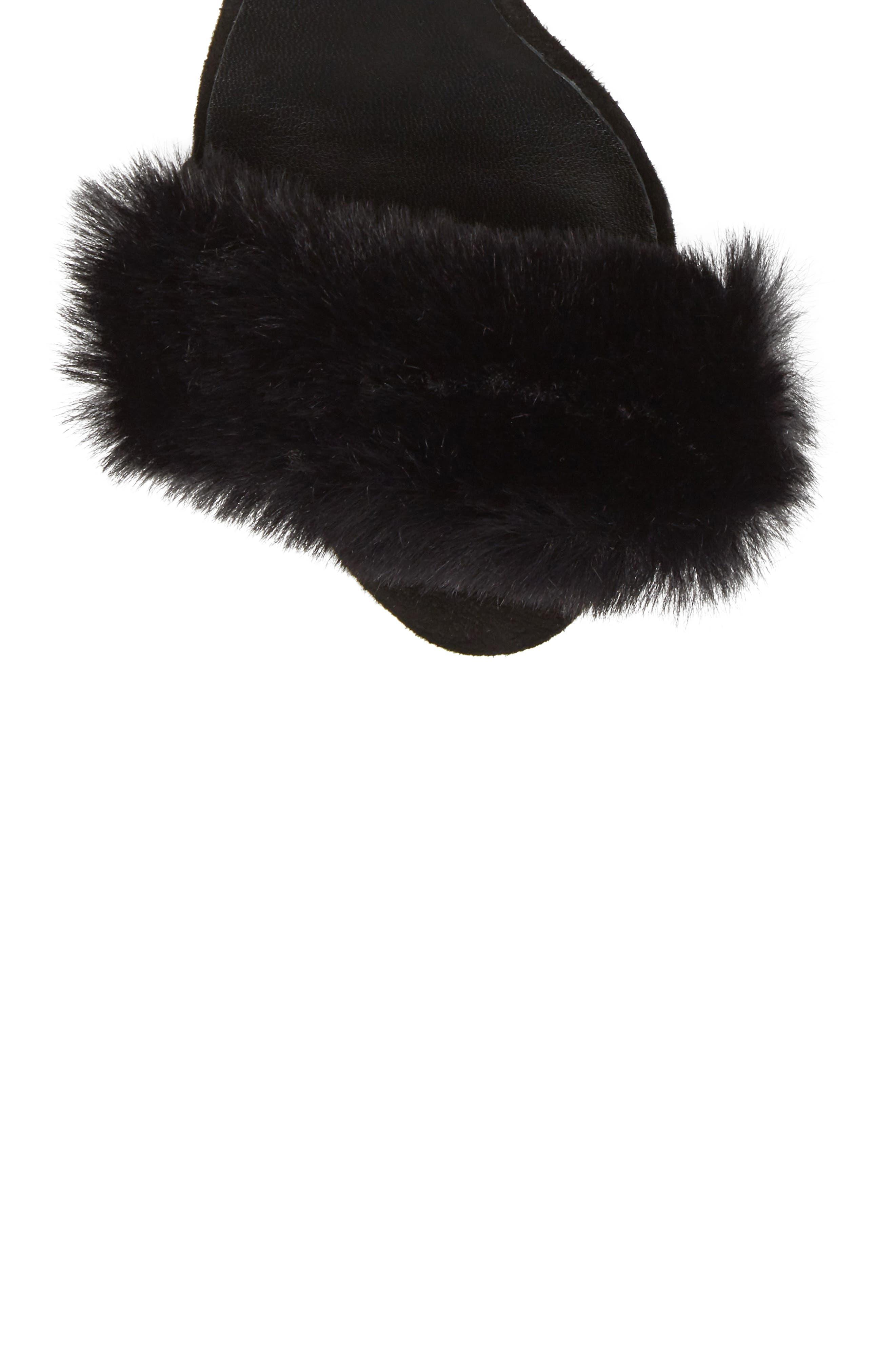 Lacey Faux Fur Sandal,                             Alternate thumbnail 5, color,                             003