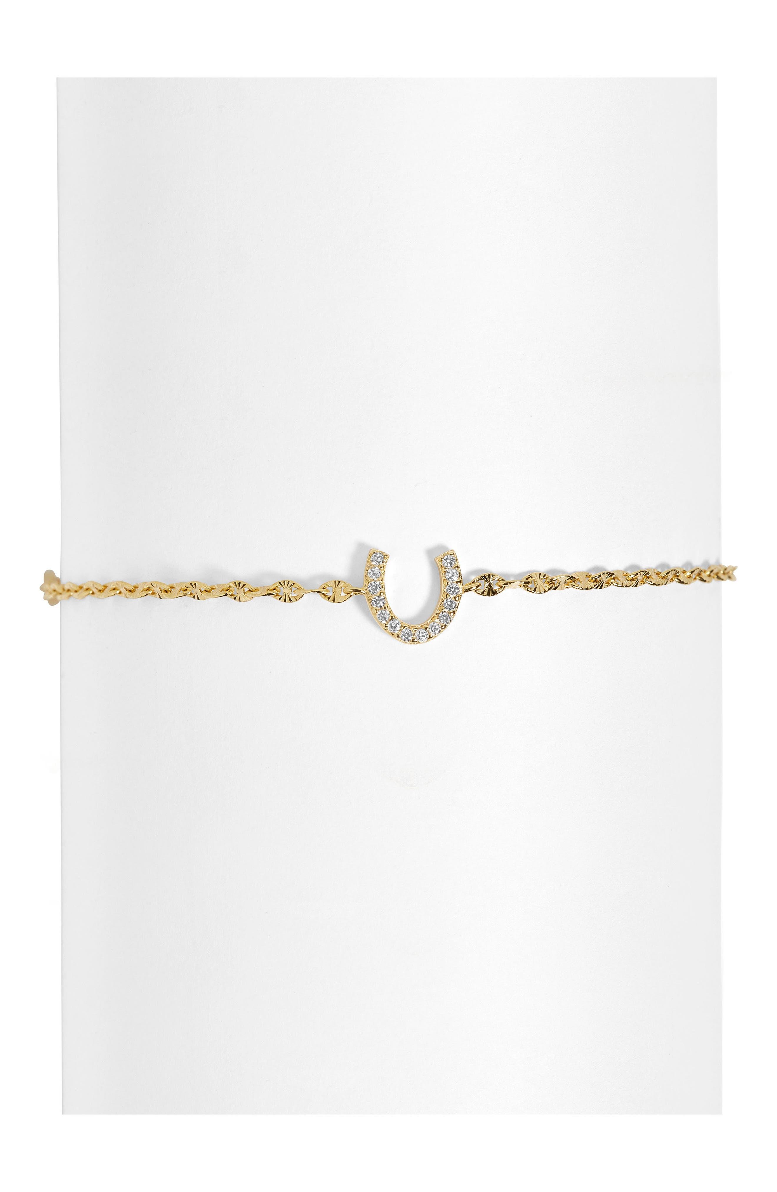 Pavé Horseshoe Bracelet,                             Main thumbnail 1, color,                             GOLD