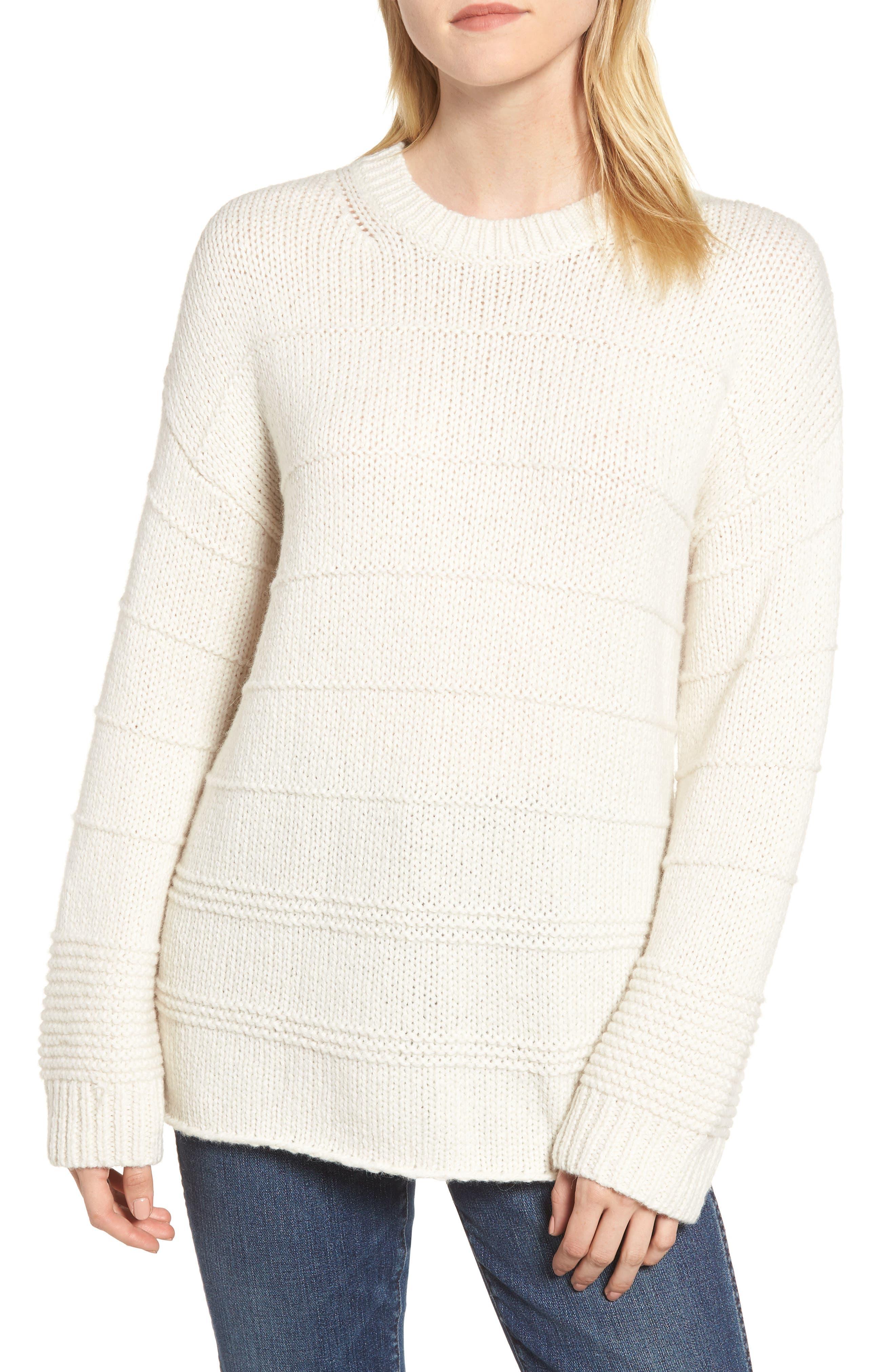 Velvet By Graham & Spencer Stripe Stitch Wool Alpaca Blend Sweater, White