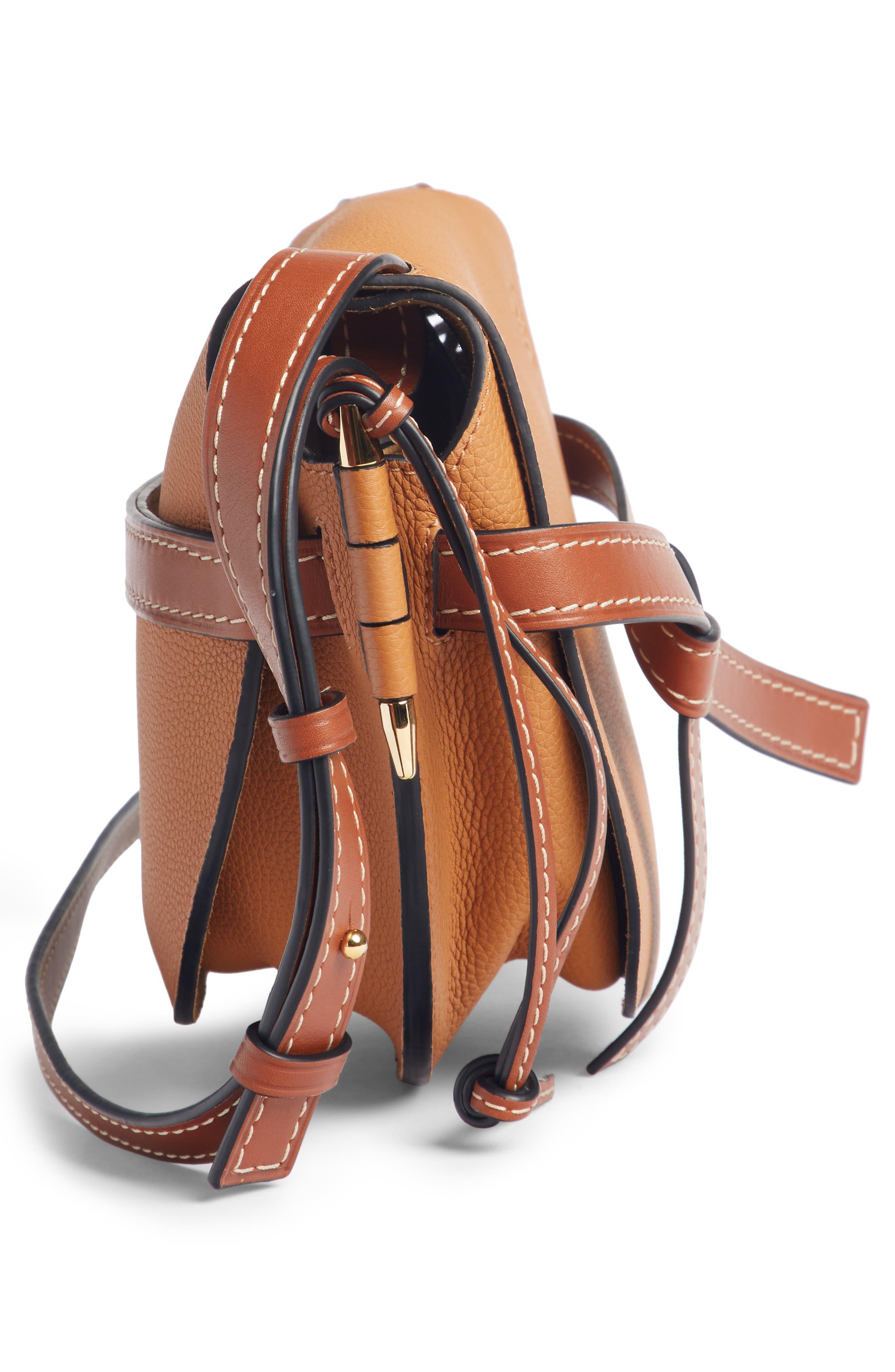 Small Gate Leather Crossbody Bag,                             Alternate thumbnail 4, color,                             LIGHT CARAMEL/ PECAN