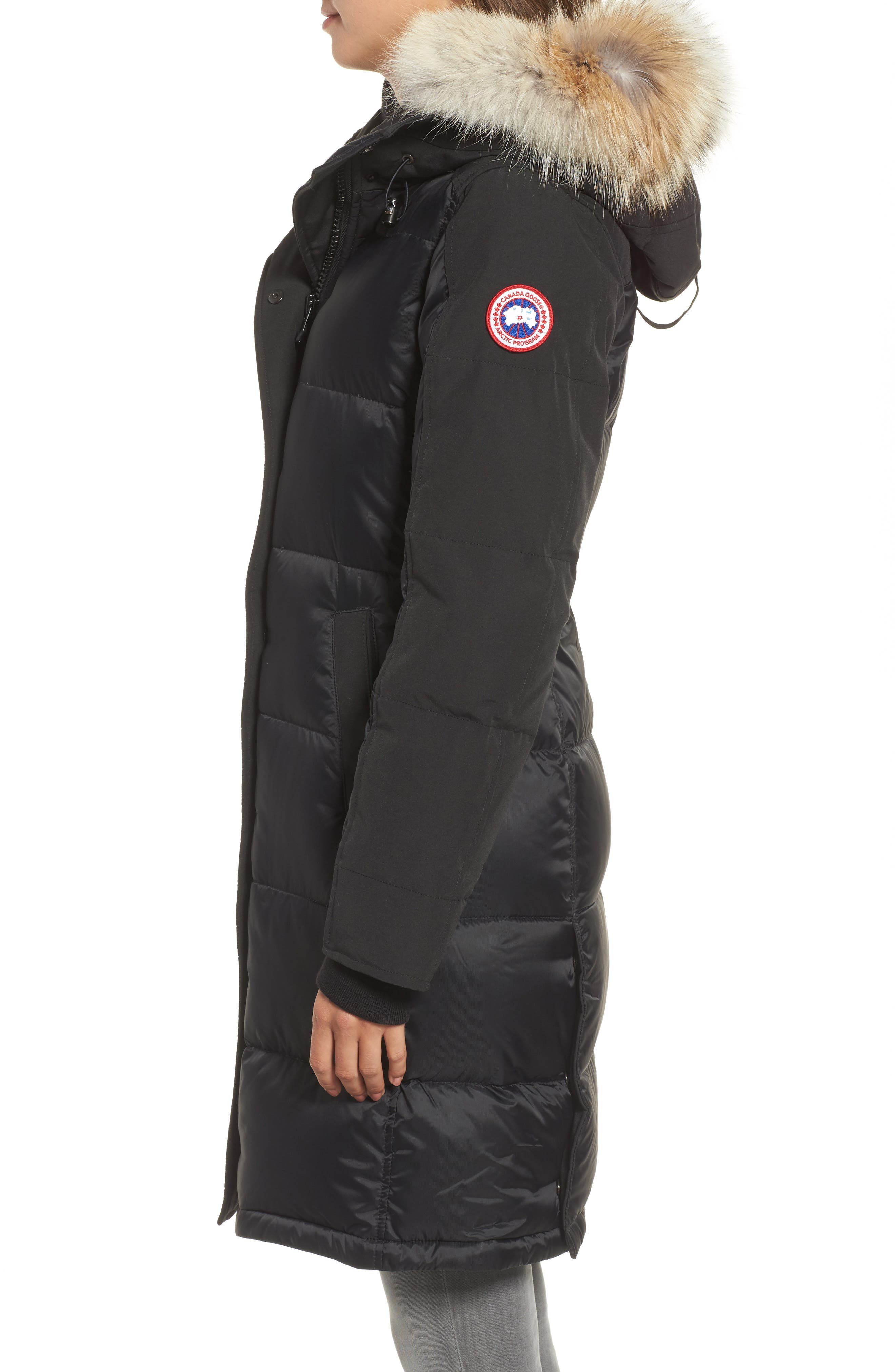 Rowley Down Parka with Genuine Fur Collar,                             Alternate thumbnail 3, color,                             001