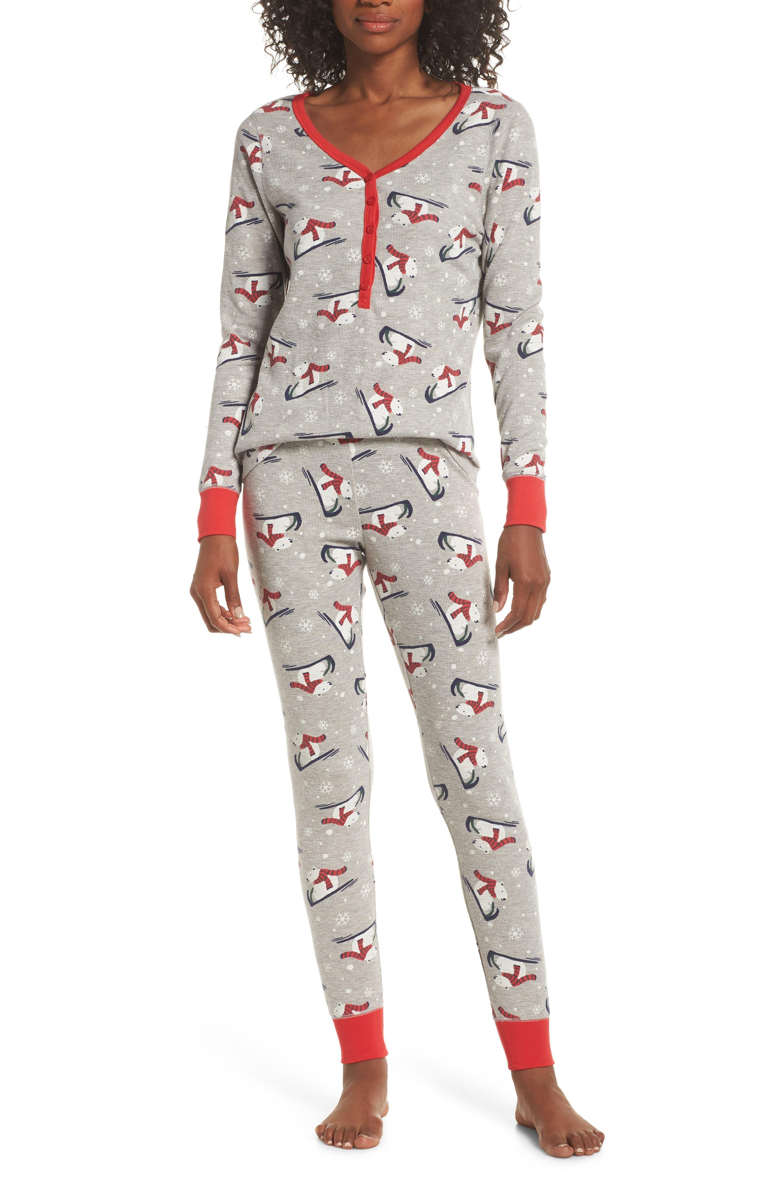 Nordstrom Lingerie Sleepyhead Thermal Pajamas, Grey