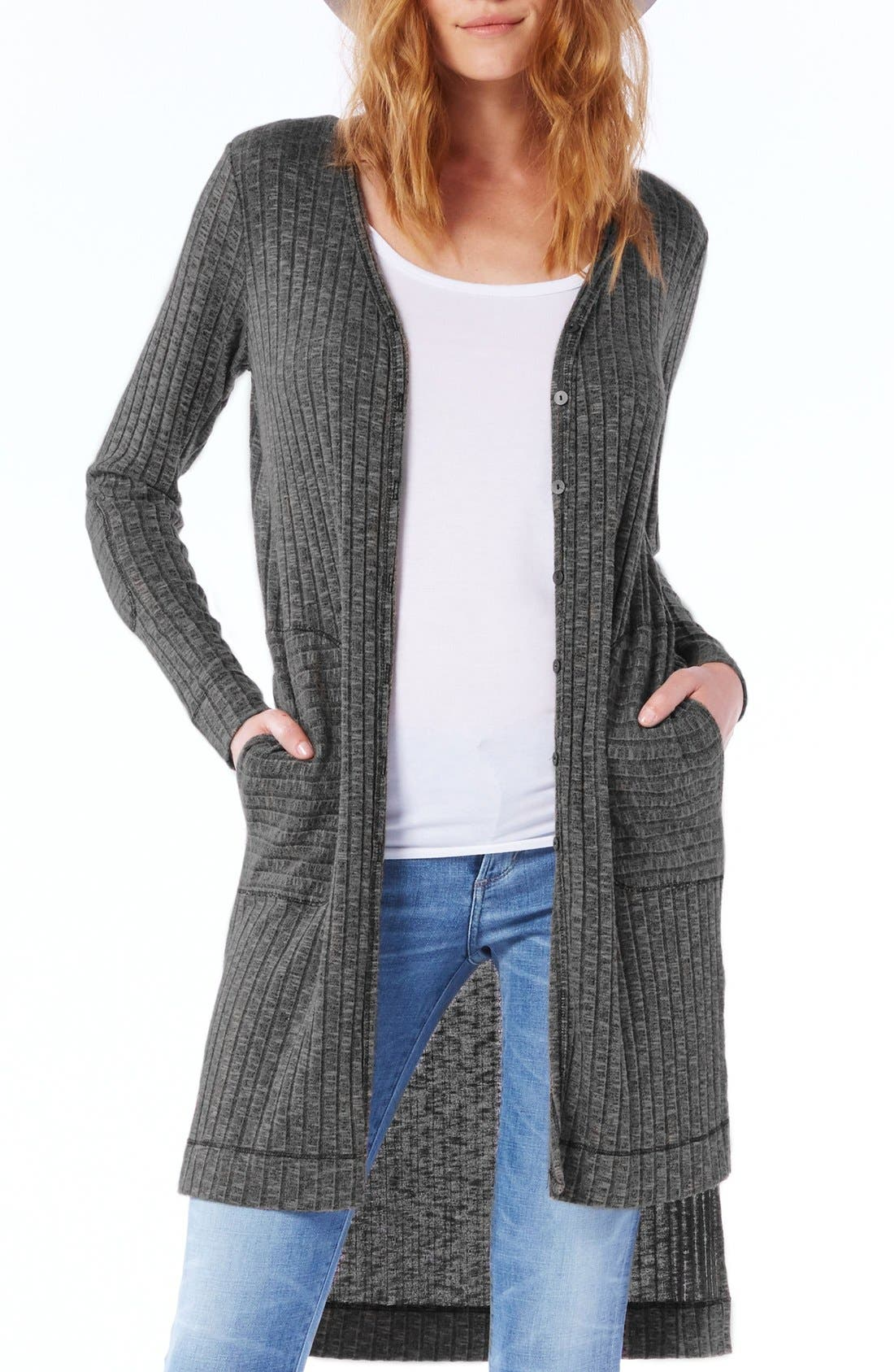 Elbow Patch Long High/Low Cardigan,                             Main thumbnail 2, color,