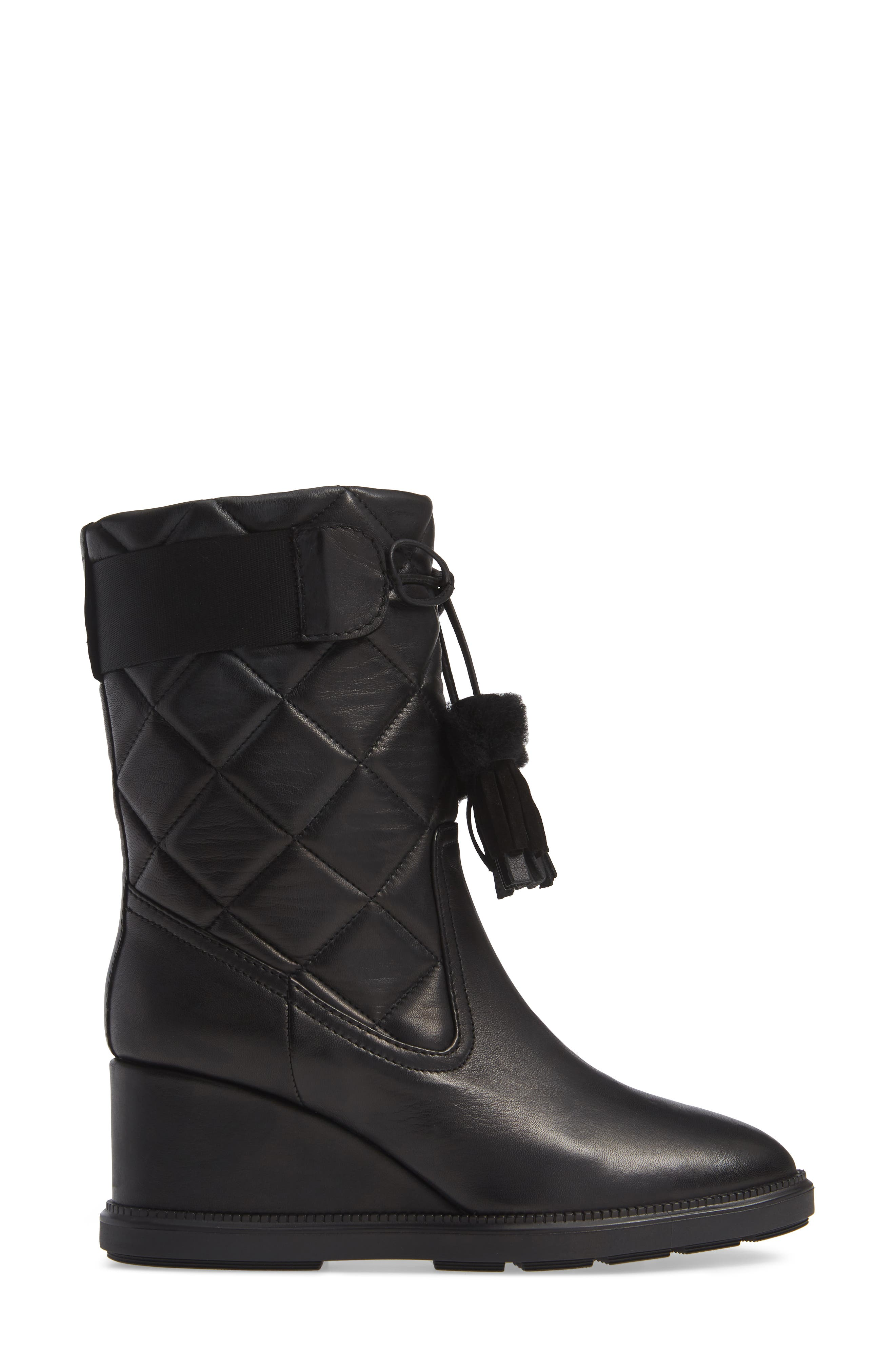 Caliana Water Resistant Genuine Shearling Lined Boot,                             Alternate thumbnail 3, color,                             BLACK NAPPA