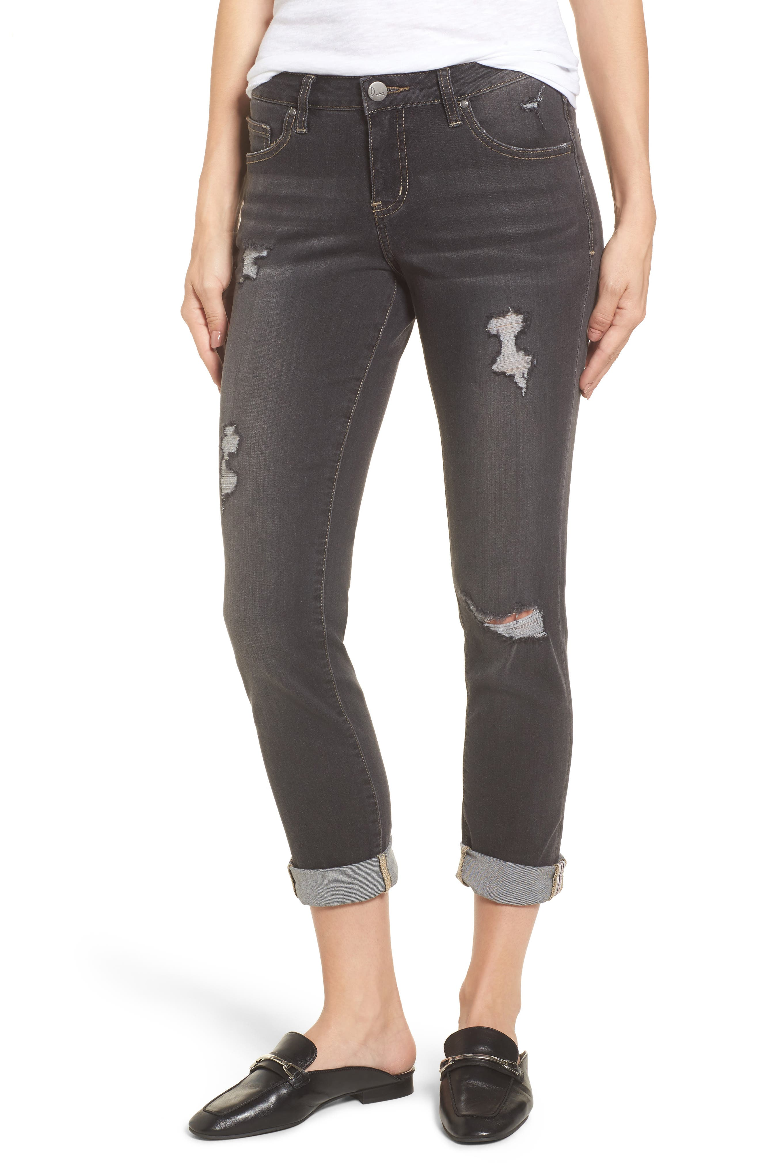 Carter Cuffed Girlfriend Jeans,                             Main thumbnail 1, color,                             DARK GREY