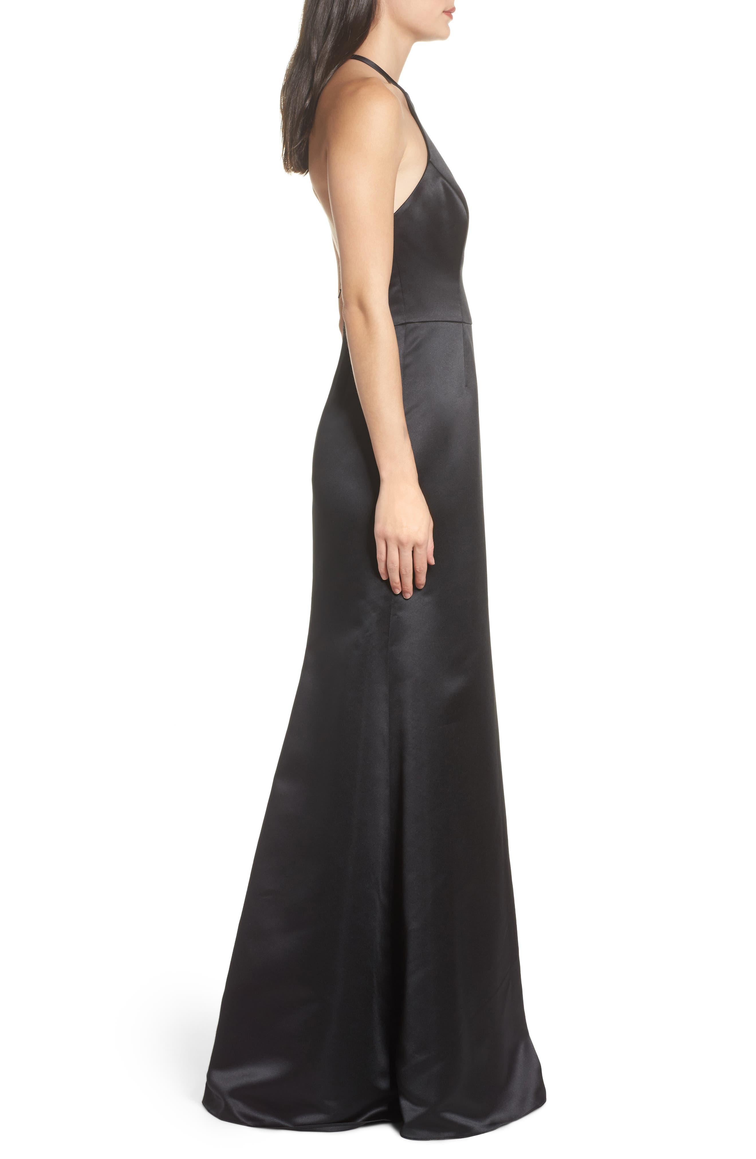 Satin A-Line Gown,                             Alternate thumbnail 3, color,                             BLACK