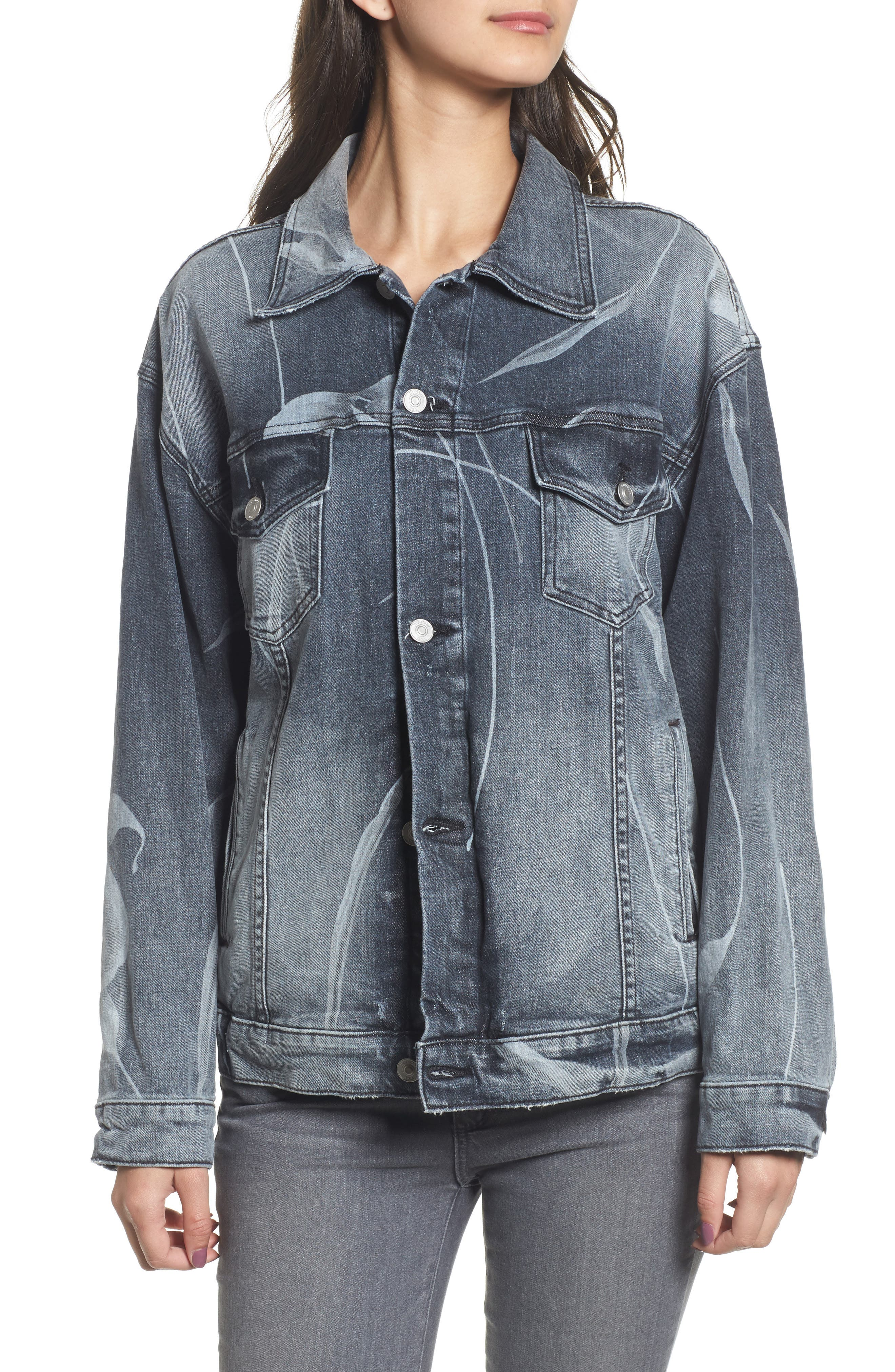 New Boyfriend Denim Trucker Jacket,                             Alternate thumbnail 4, color,                             001