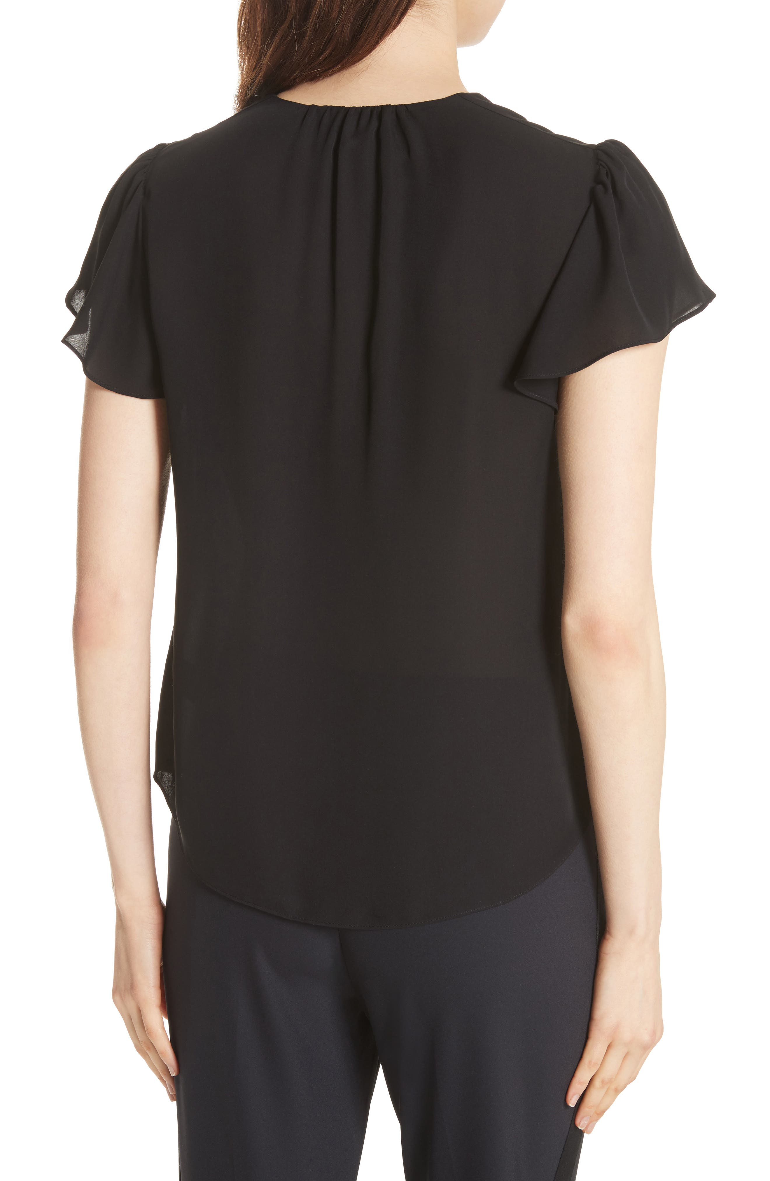 Celina Silk Top,                             Alternate thumbnail 2, color,                             BLACK