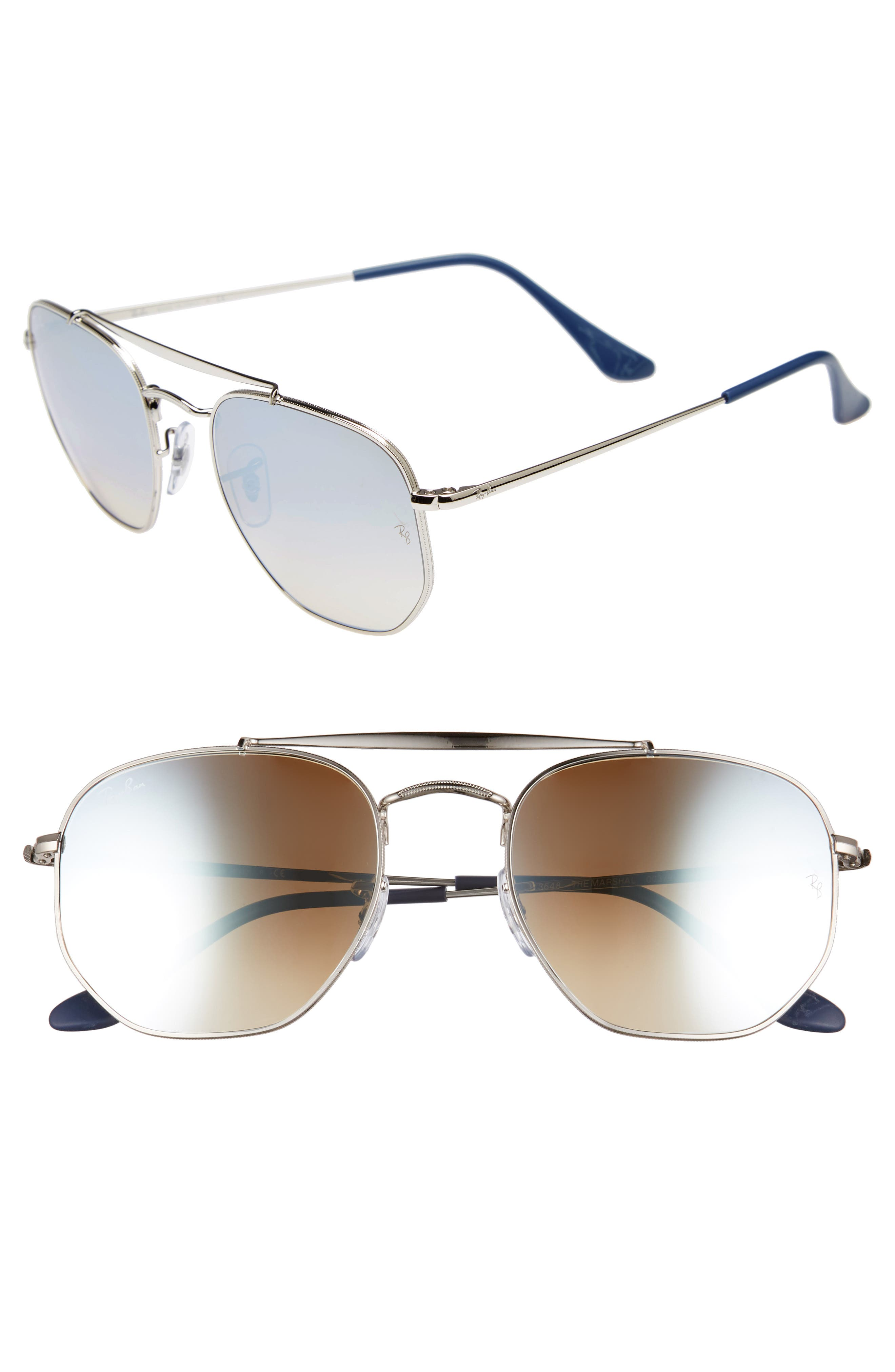 Marshal 54mm Aviator Sunglasses,                         Main,                         color, SILVER