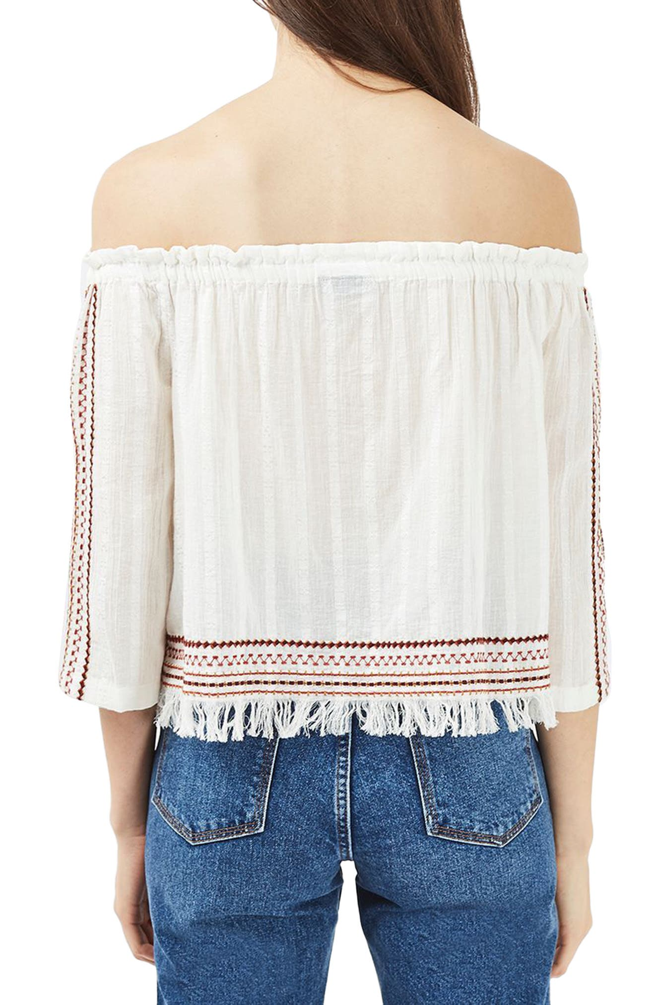 Bardot Embroidered Top,                             Alternate thumbnail 2, color,                             900