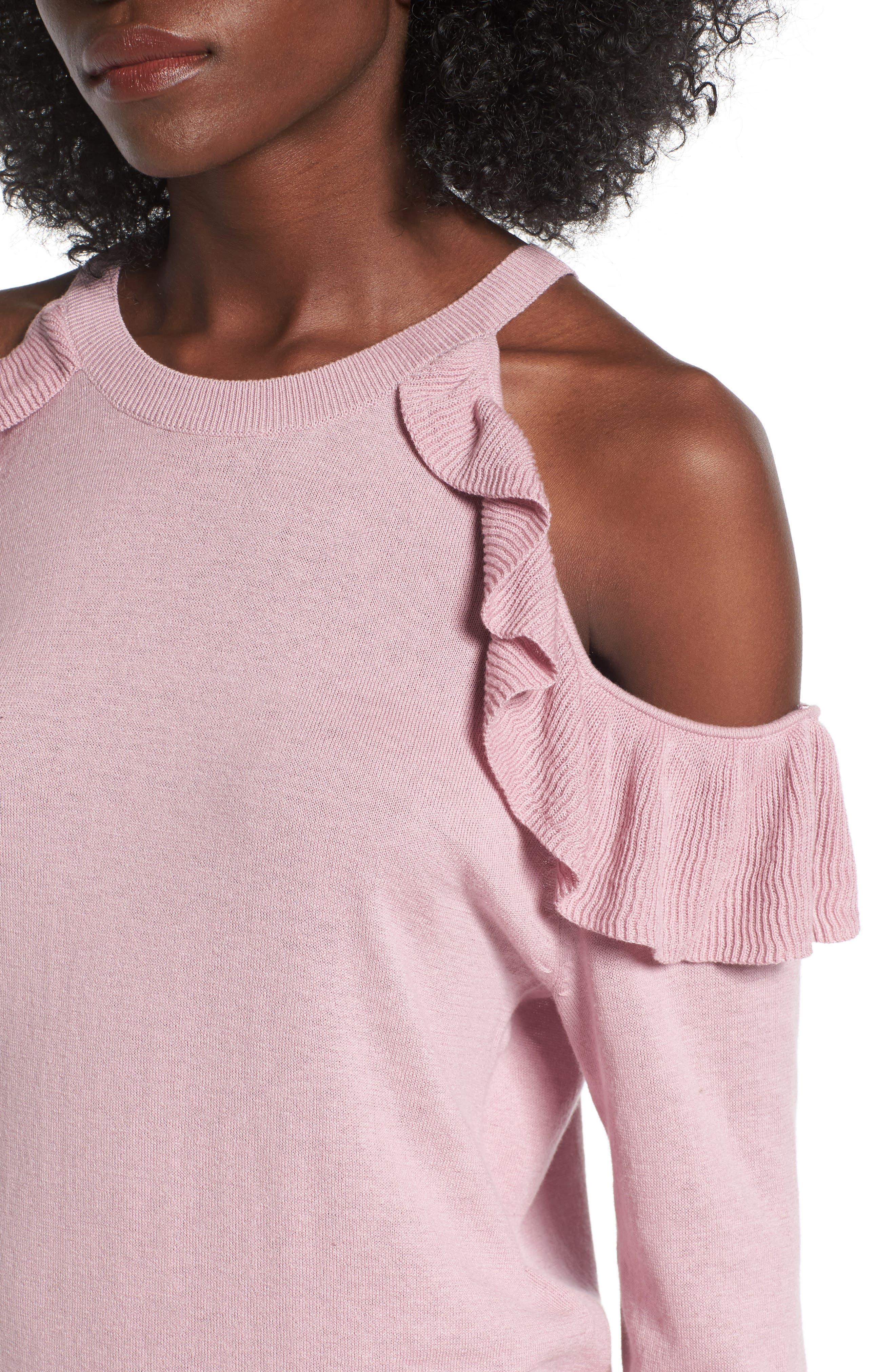 Ruffle Cold Shoulder Pullover,                             Alternate thumbnail 4, color,                             680