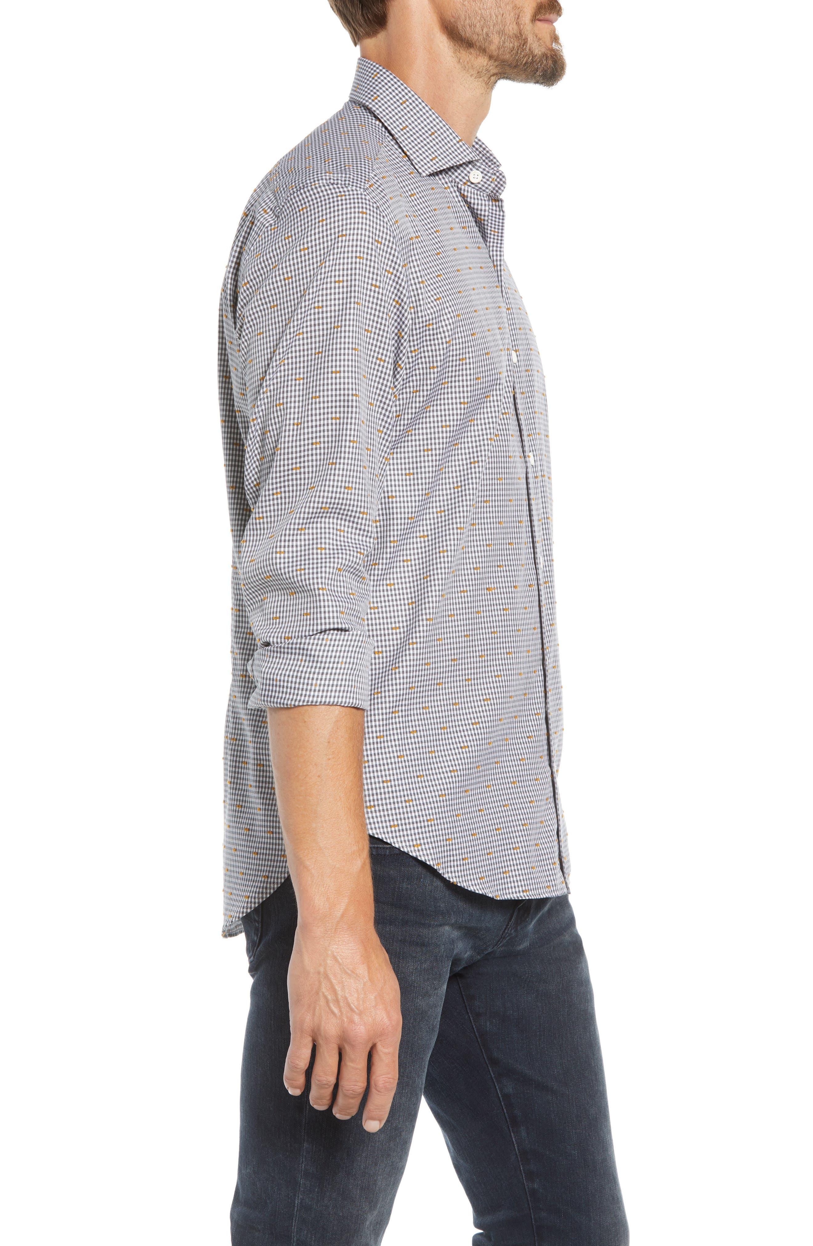 CULTURATA,                             Coupé Dot Tailored Fit Gingham Sport Shirt,                             Alternate thumbnail 4, color,                             020