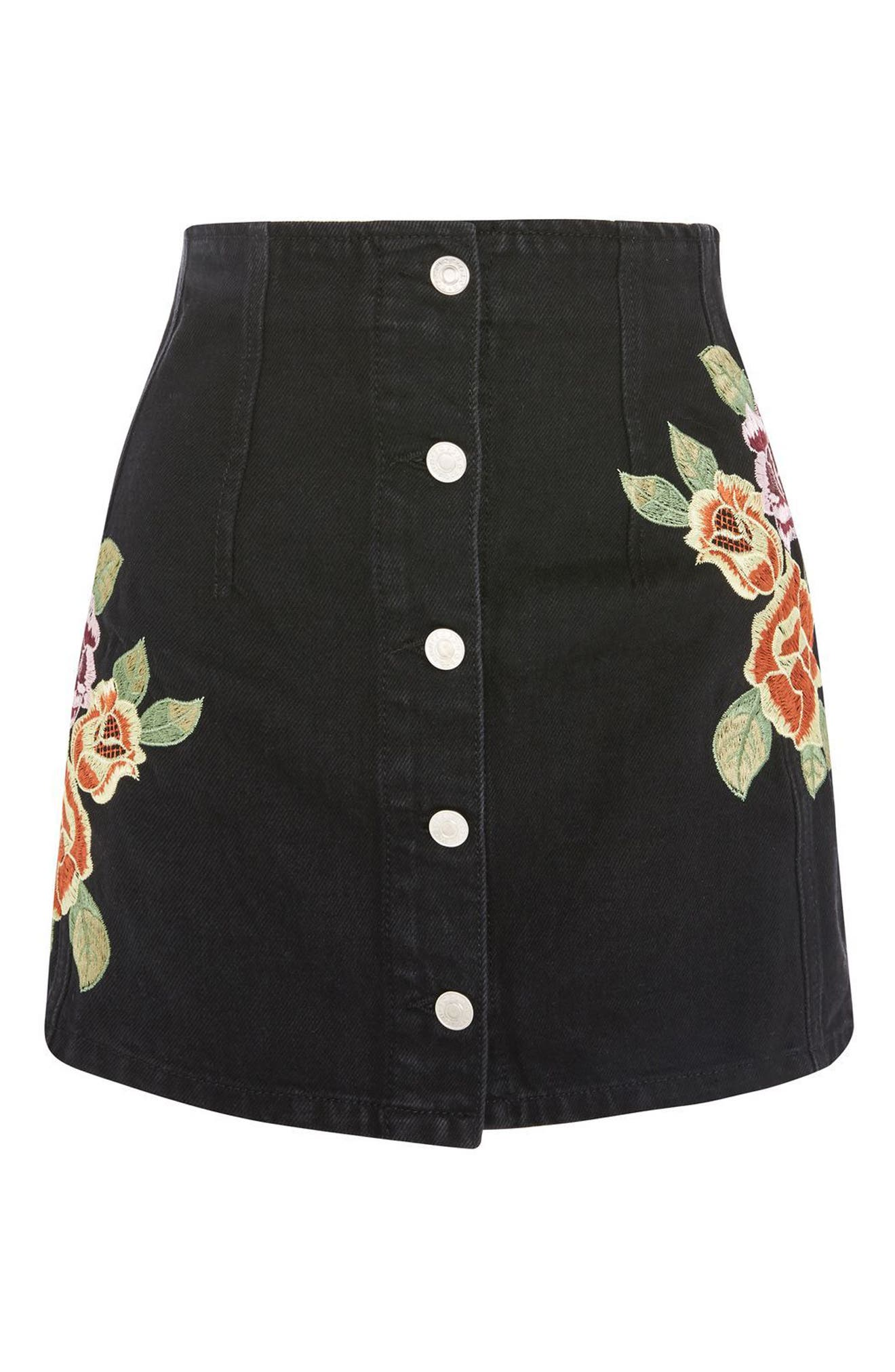 Embroidered Button Front Denim Skirt,                             Alternate thumbnail 3, color,
