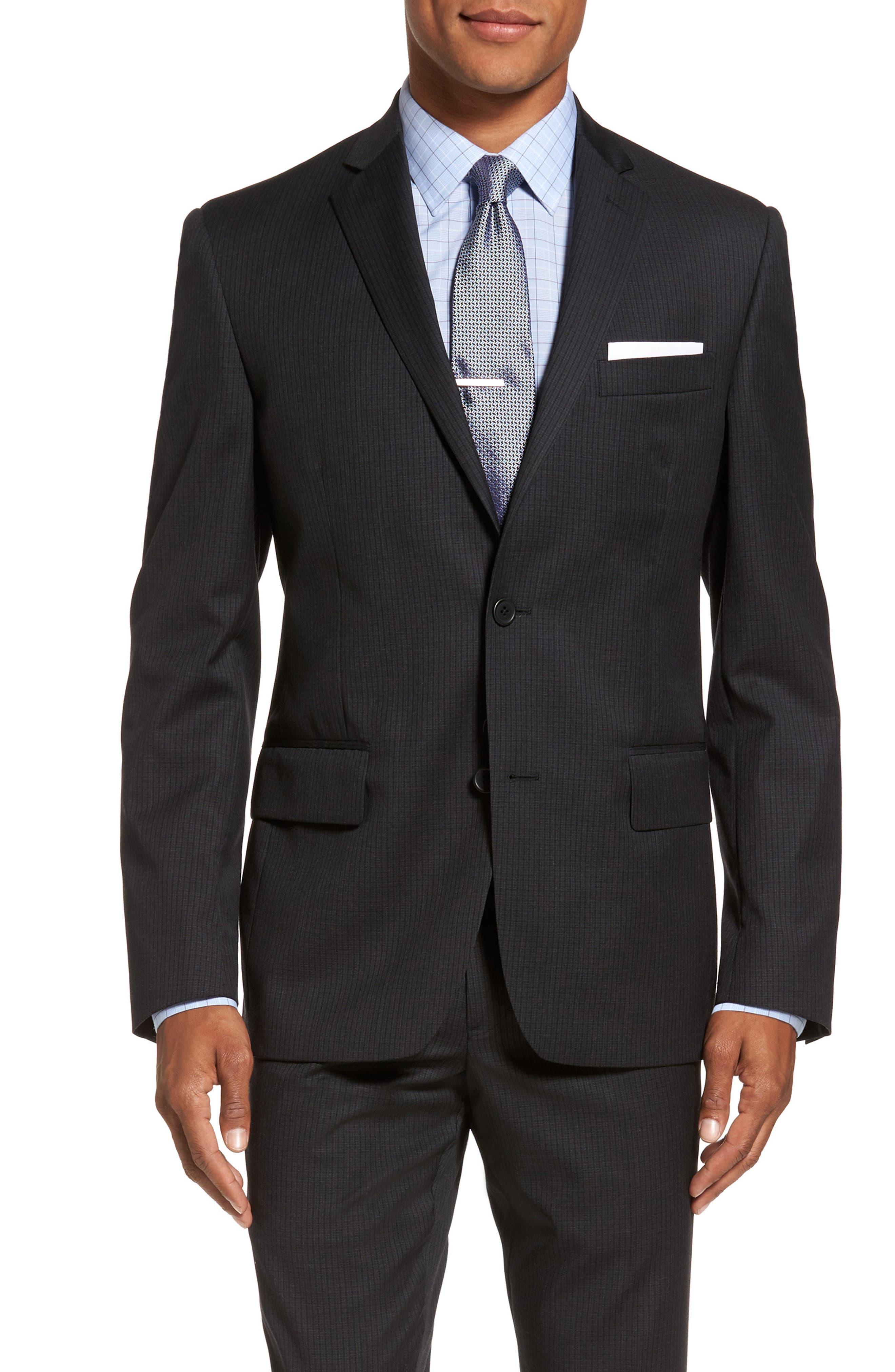Classic Fit Check Wool Suit,                             Alternate thumbnail 5, color,                             001