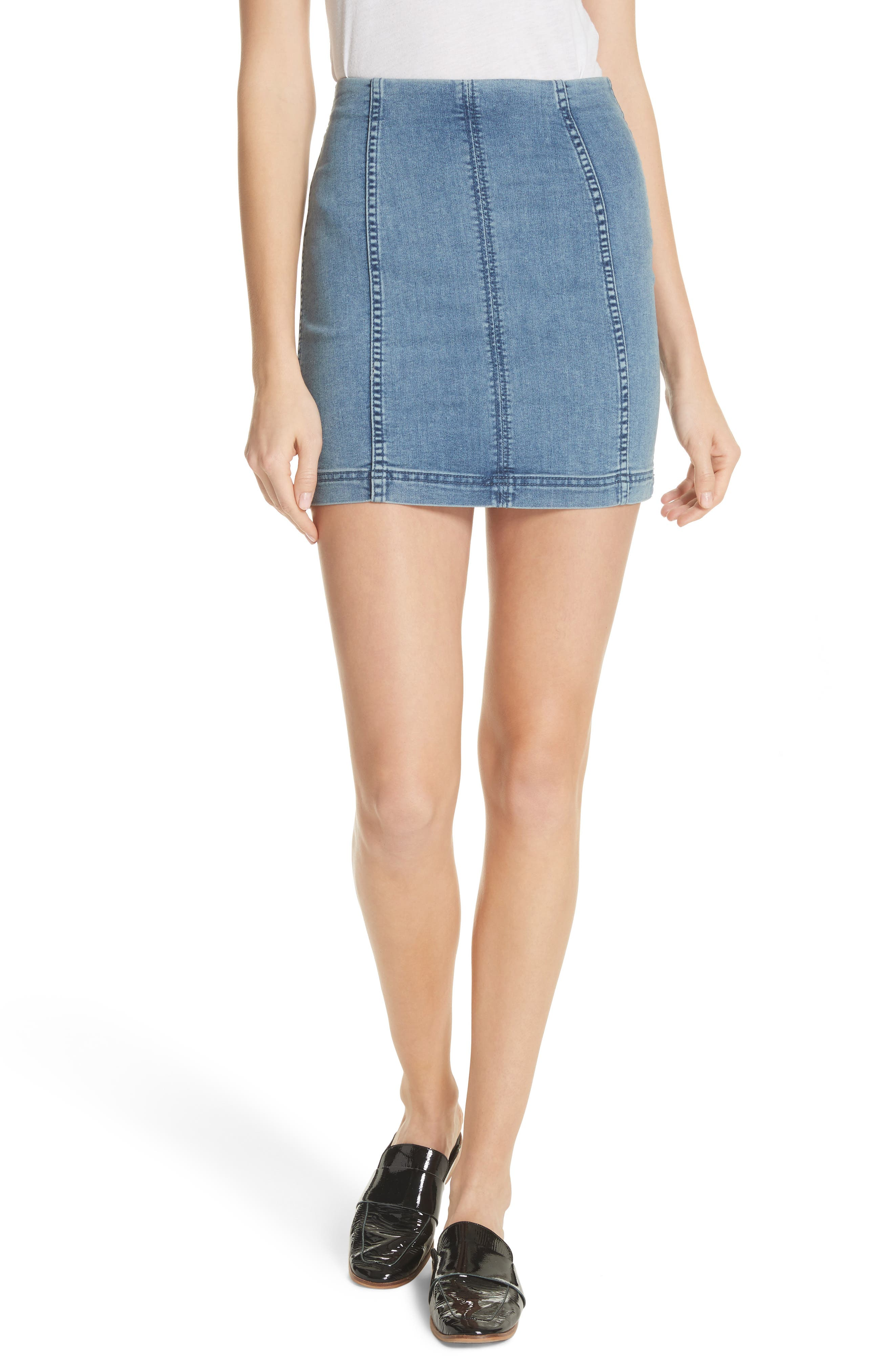 We the Free by Free People Modern Denim Miniskirt,                             Main thumbnail 1, color,                             LT BLUE