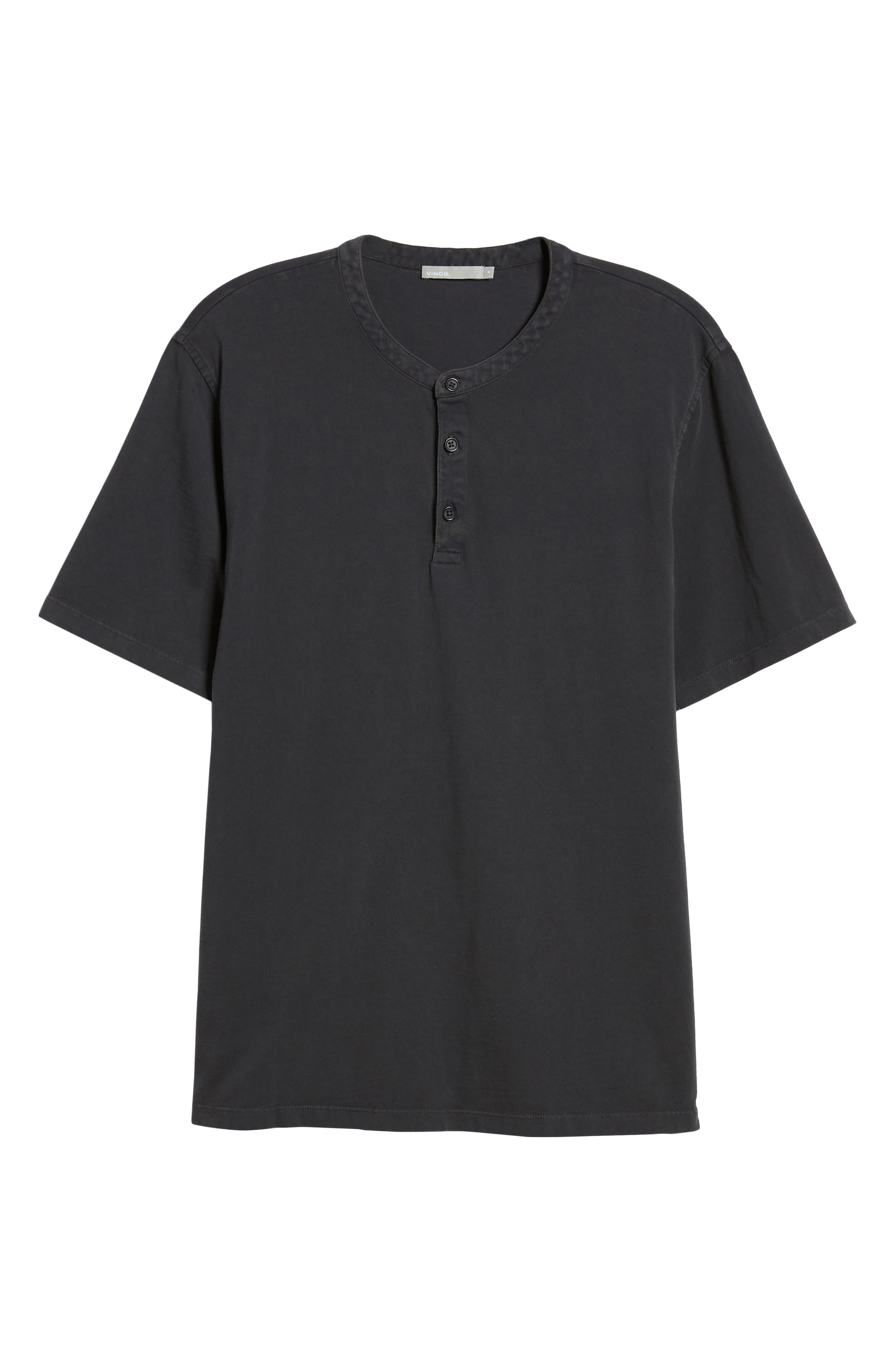 VINCE,                             Regular Fit Garment Dye Short Sleeve Henley,                             Alternate thumbnail 6, color,                             001