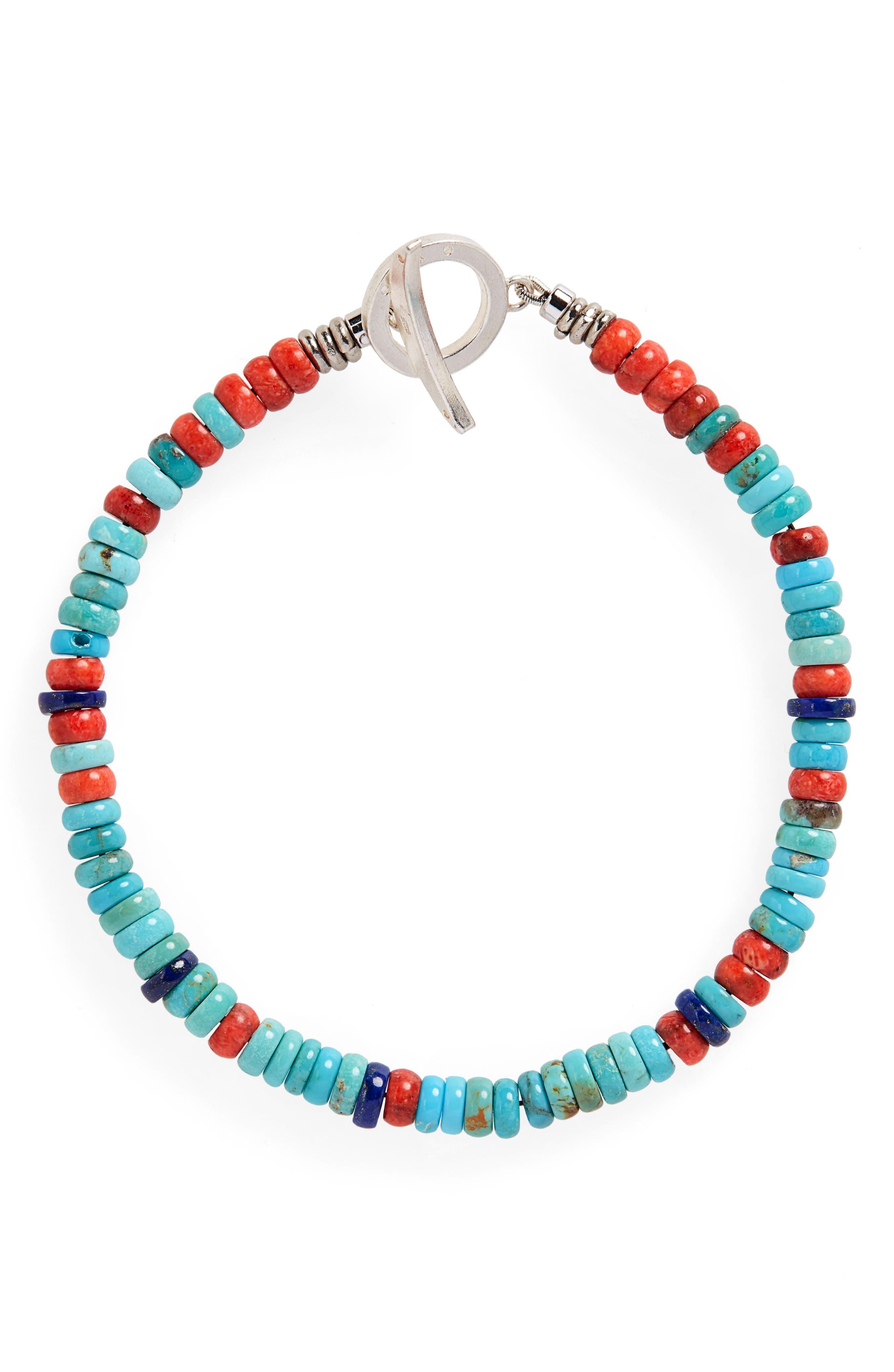 Heishi Stone & Coral Bead Bracelet, Main, color, CORAL/ LAPIS