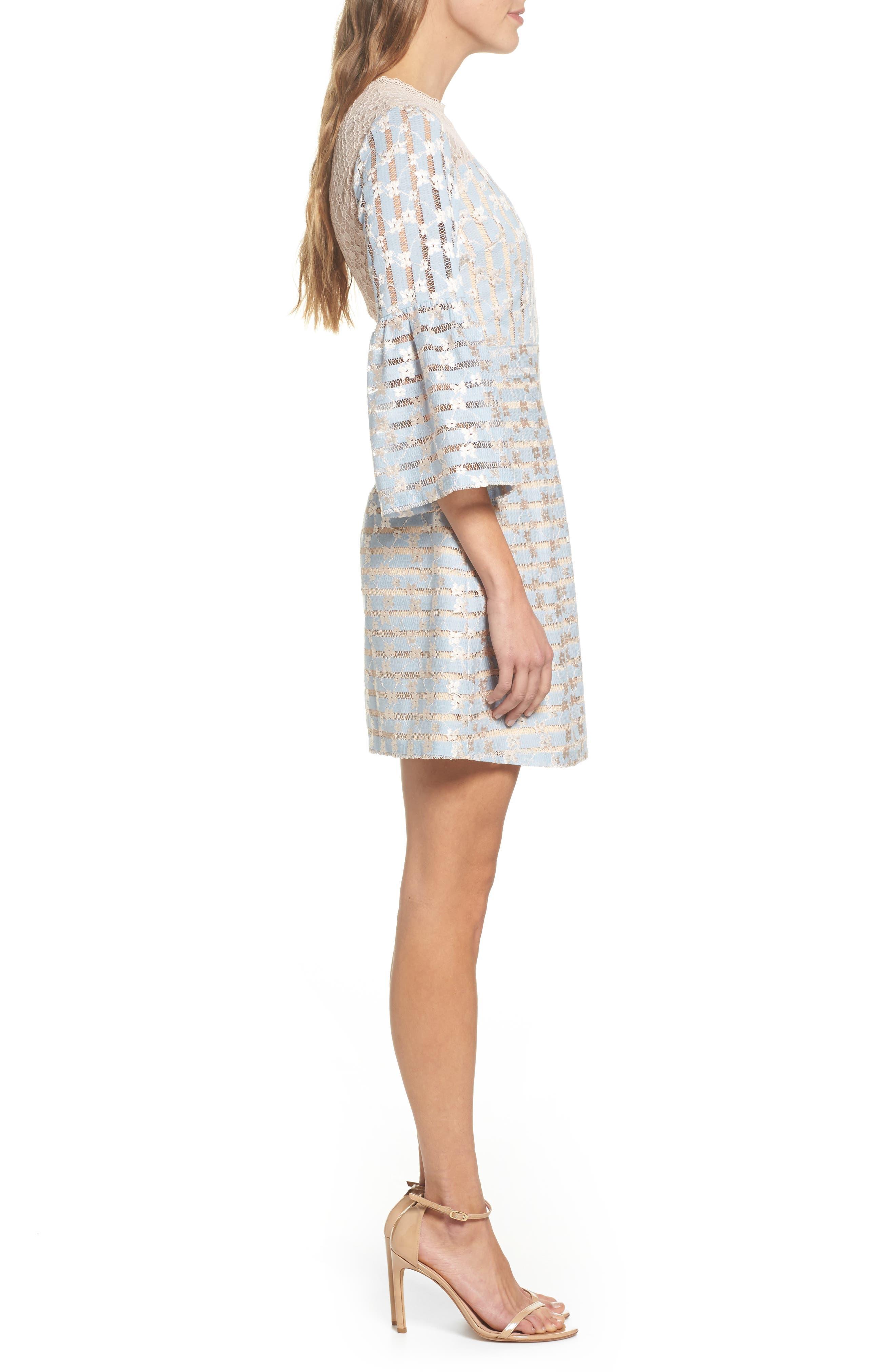 Cordelia Bell Sleeve Minidress,                             Alternate thumbnail 3, color,                             400