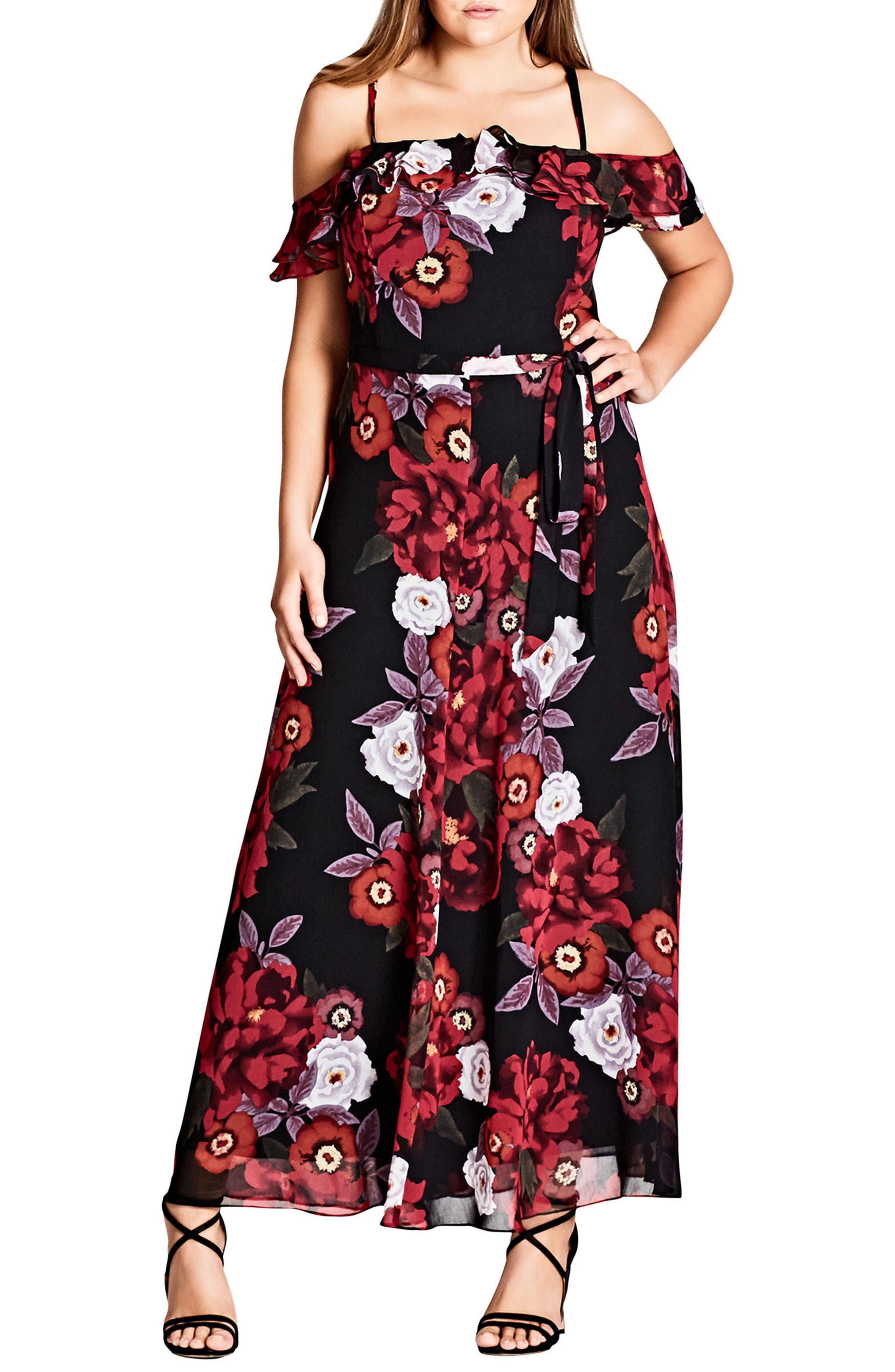 Chic City Rich Rose Maxi Dress,                             Main thumbnail 1, color,                             001
