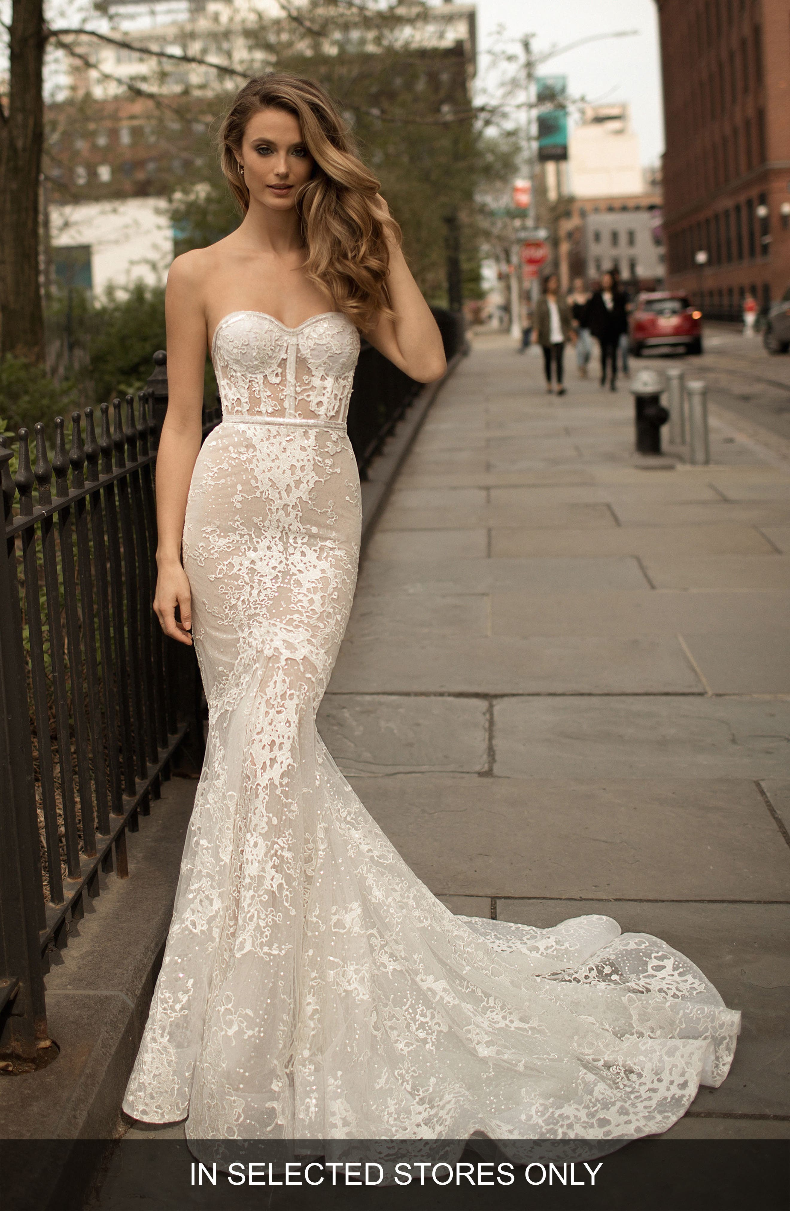 Berta Strapless Lace Trumpet Gown, Ivory