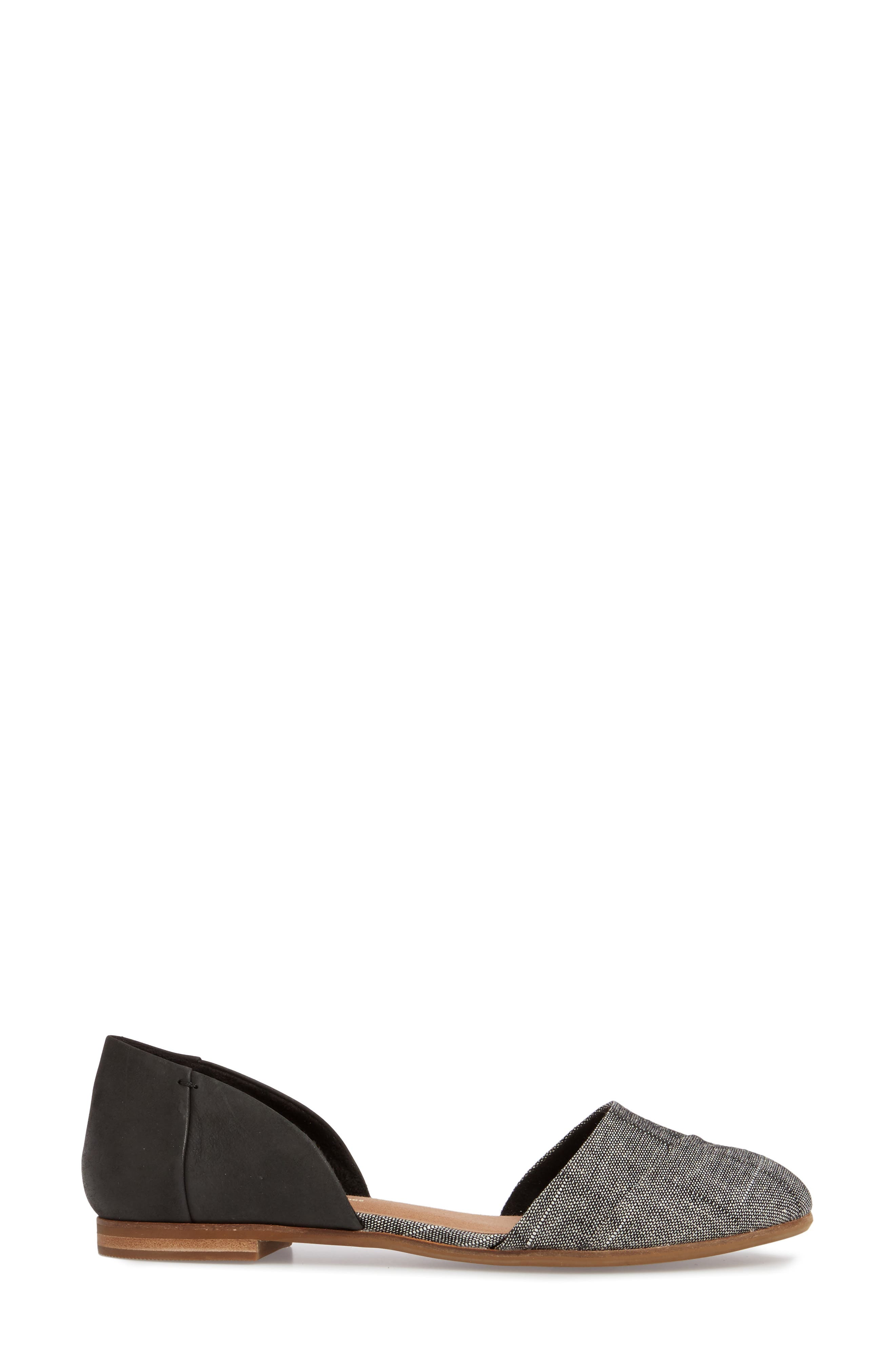 Jutti d'Orsay Flat,                             Alternate thumbnail 3, color,                             BLACK LEATHER/ CHAMBRAY