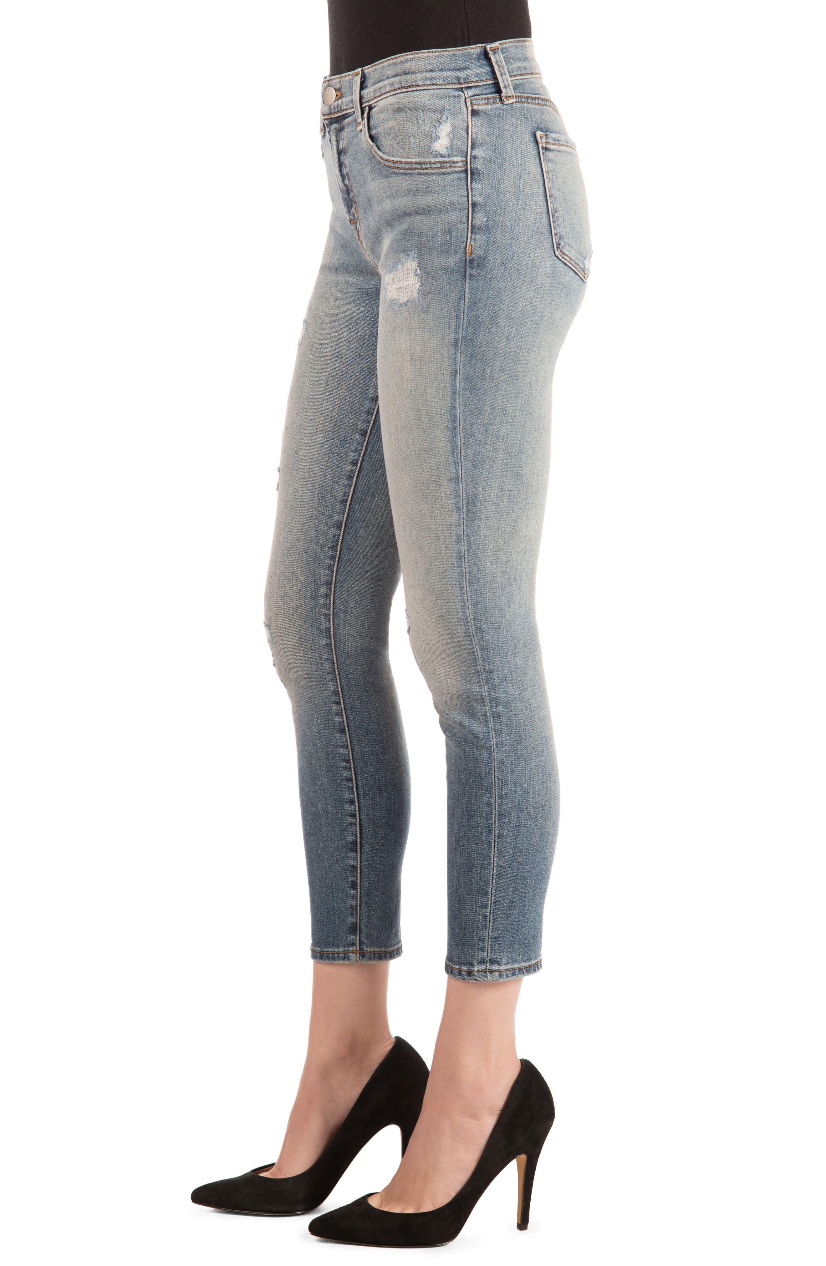 835 Distressed Capri Skinny Jeans,                             Alternate thumbnail 3, color,                             430