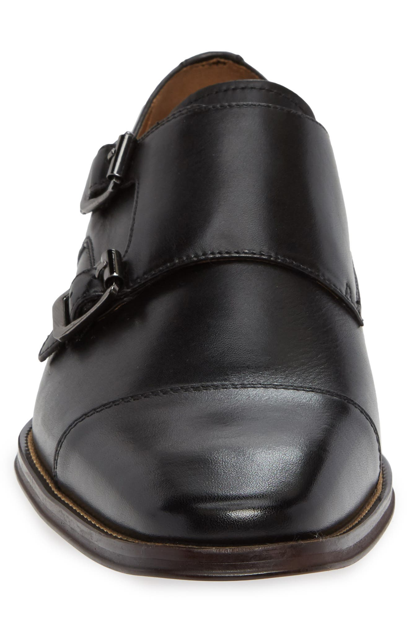 Remy Monk Strap Slip-On,                             Alternate thumbnail 4, color,                             BLACK LEATHER