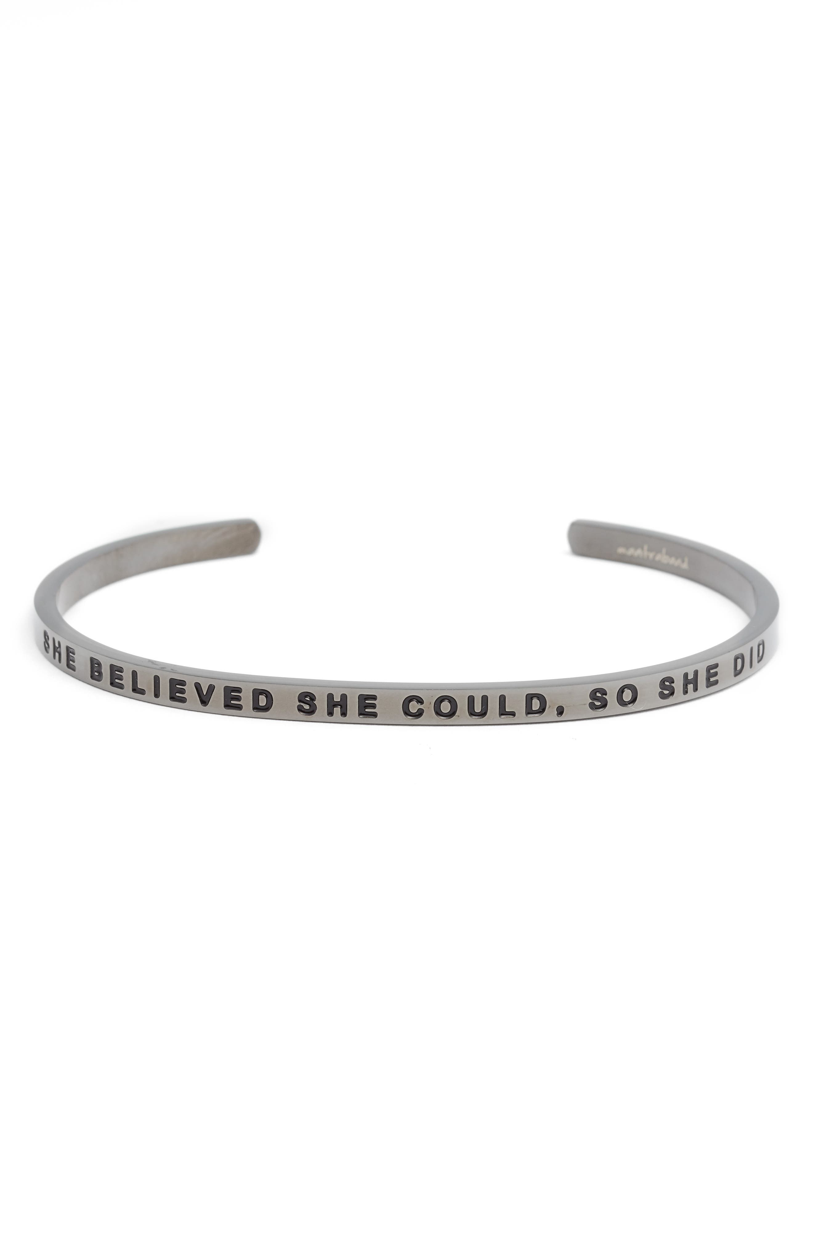 'She Believed She Could' Cuff,                             Main thumbnail 1, color,                             MOON GRAY