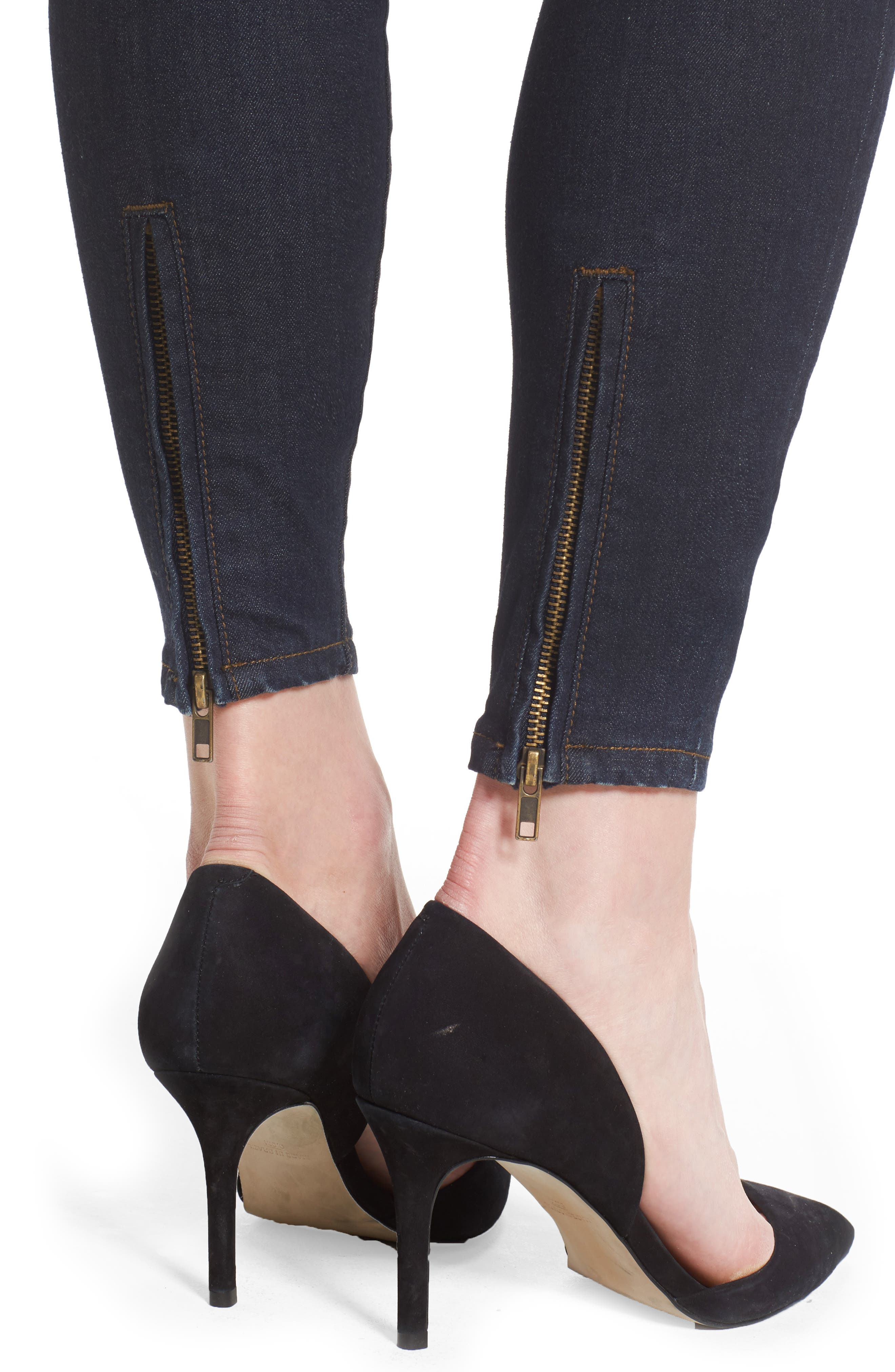 Connie Zip Back Skinny Ankle Jeans,                             Alternate thumbnail 4, color,                             419
