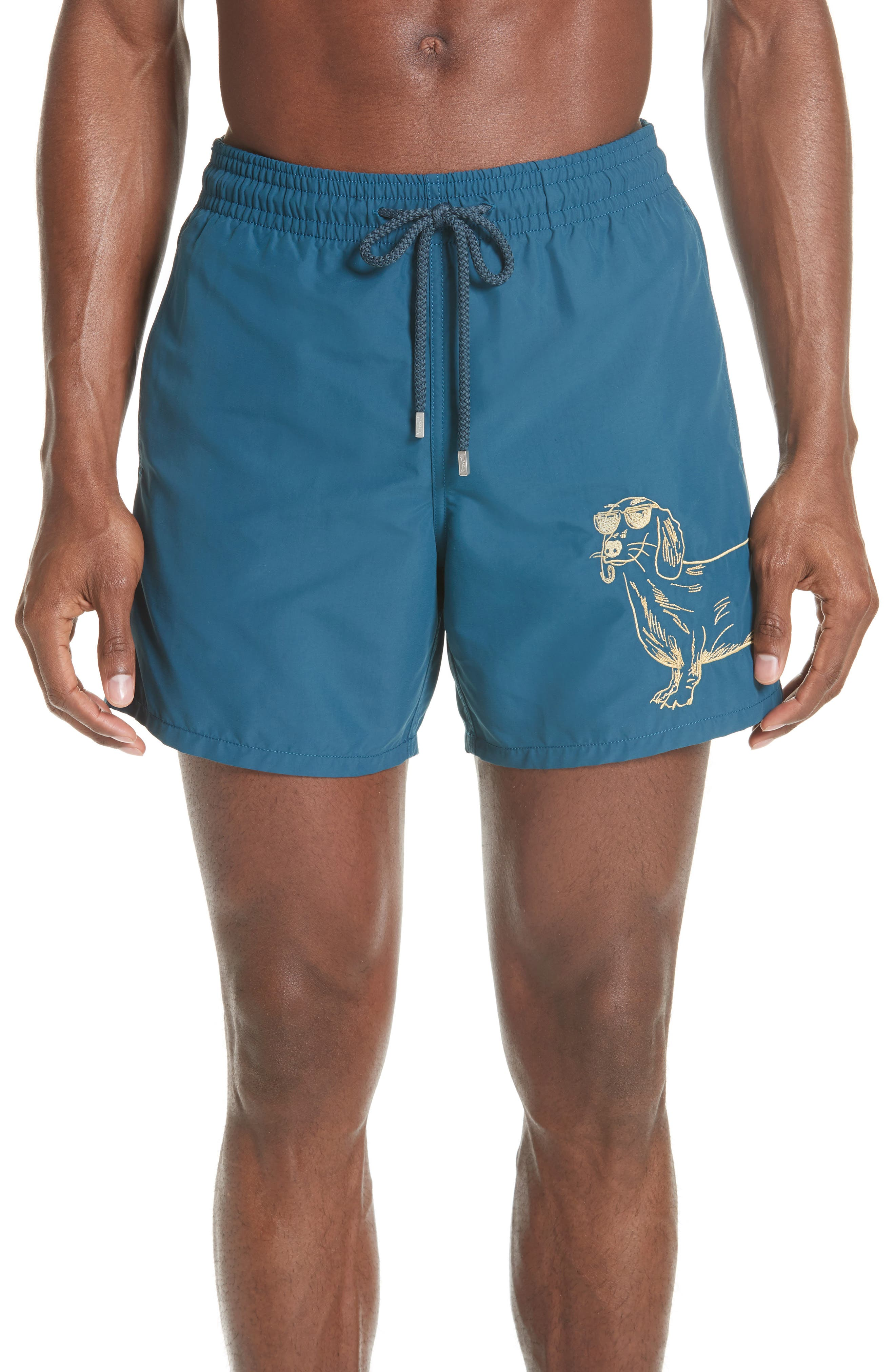 Embroidered Sunny Dog Swim Trunks,                             Main thumbnail 1, color,                             EMBRUNS