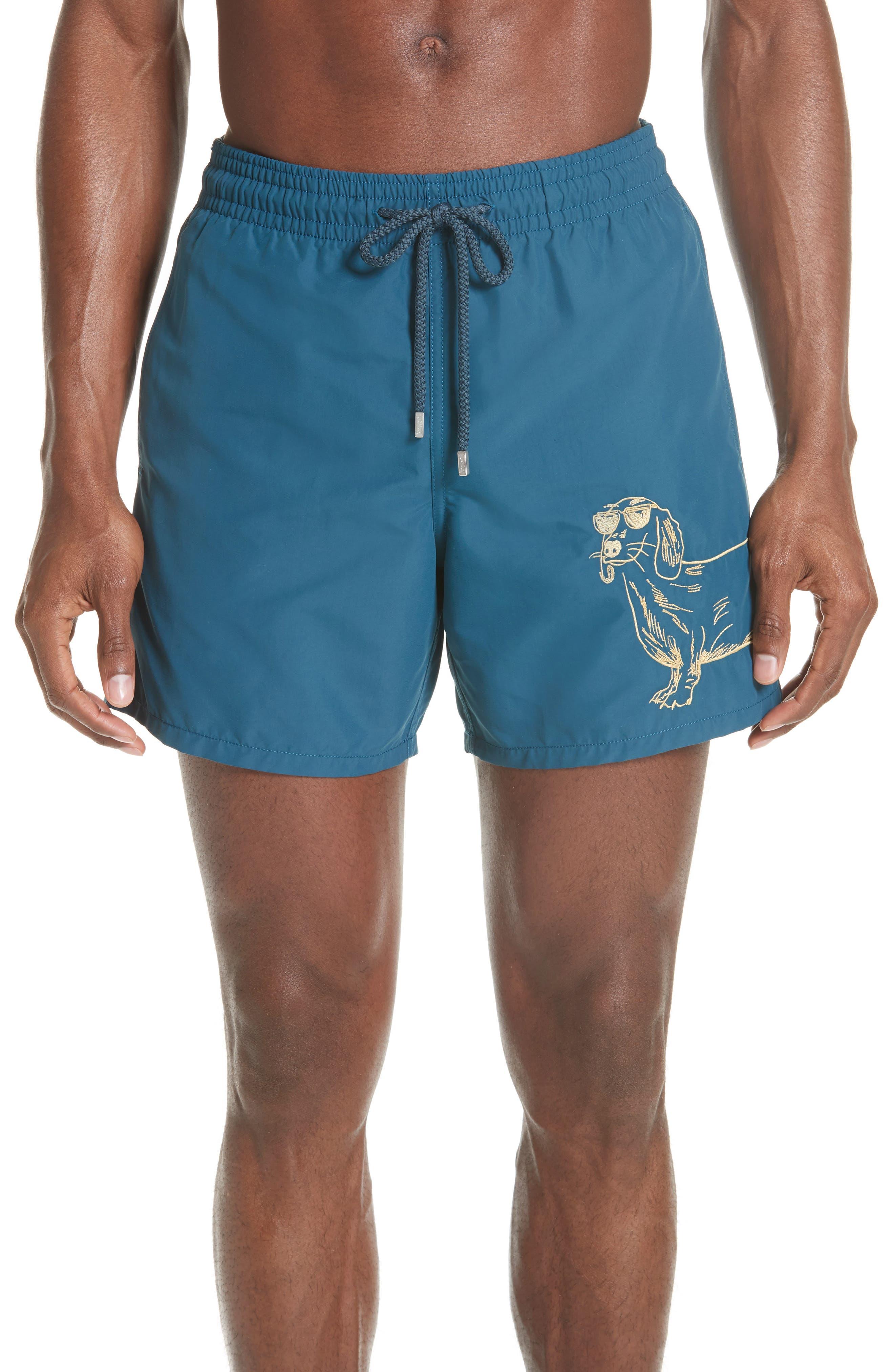 Embroidered Sunny Dog Swim Trunks,                         Main,                         color, 471