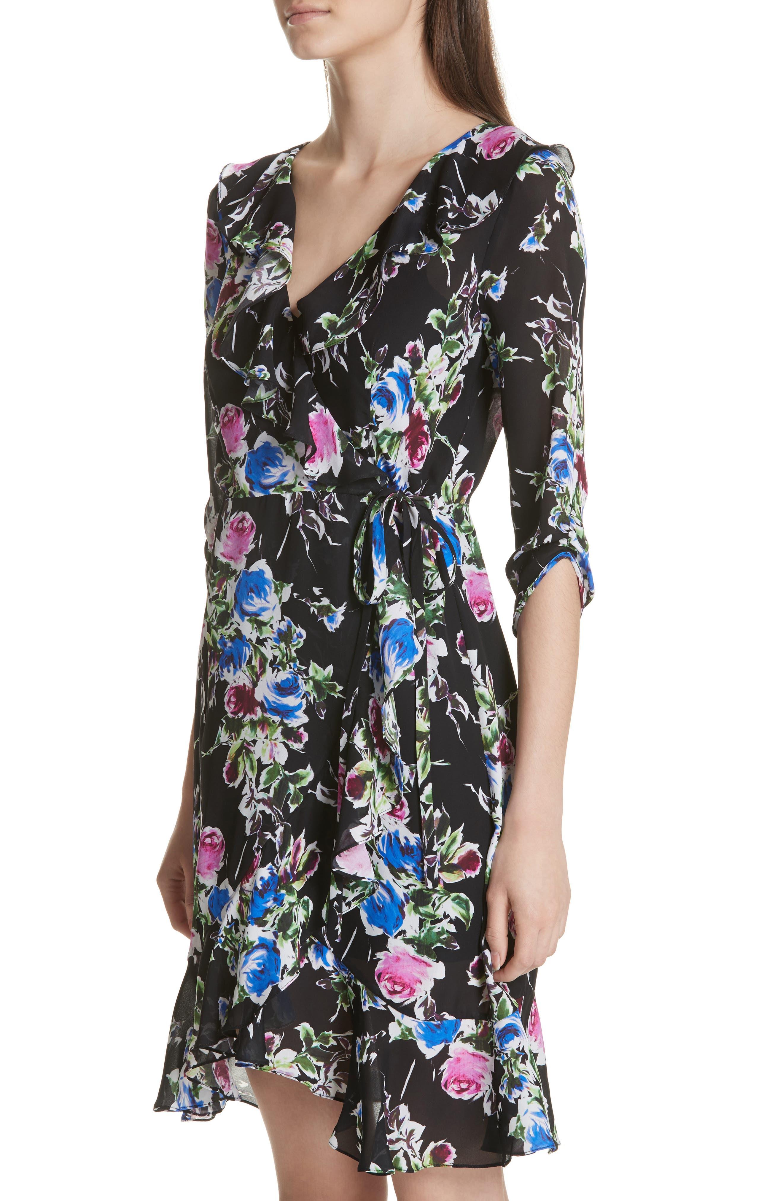 Audrey Floral Silk Wrap Dress,                             Alternate thumbnail 4, color,                             001