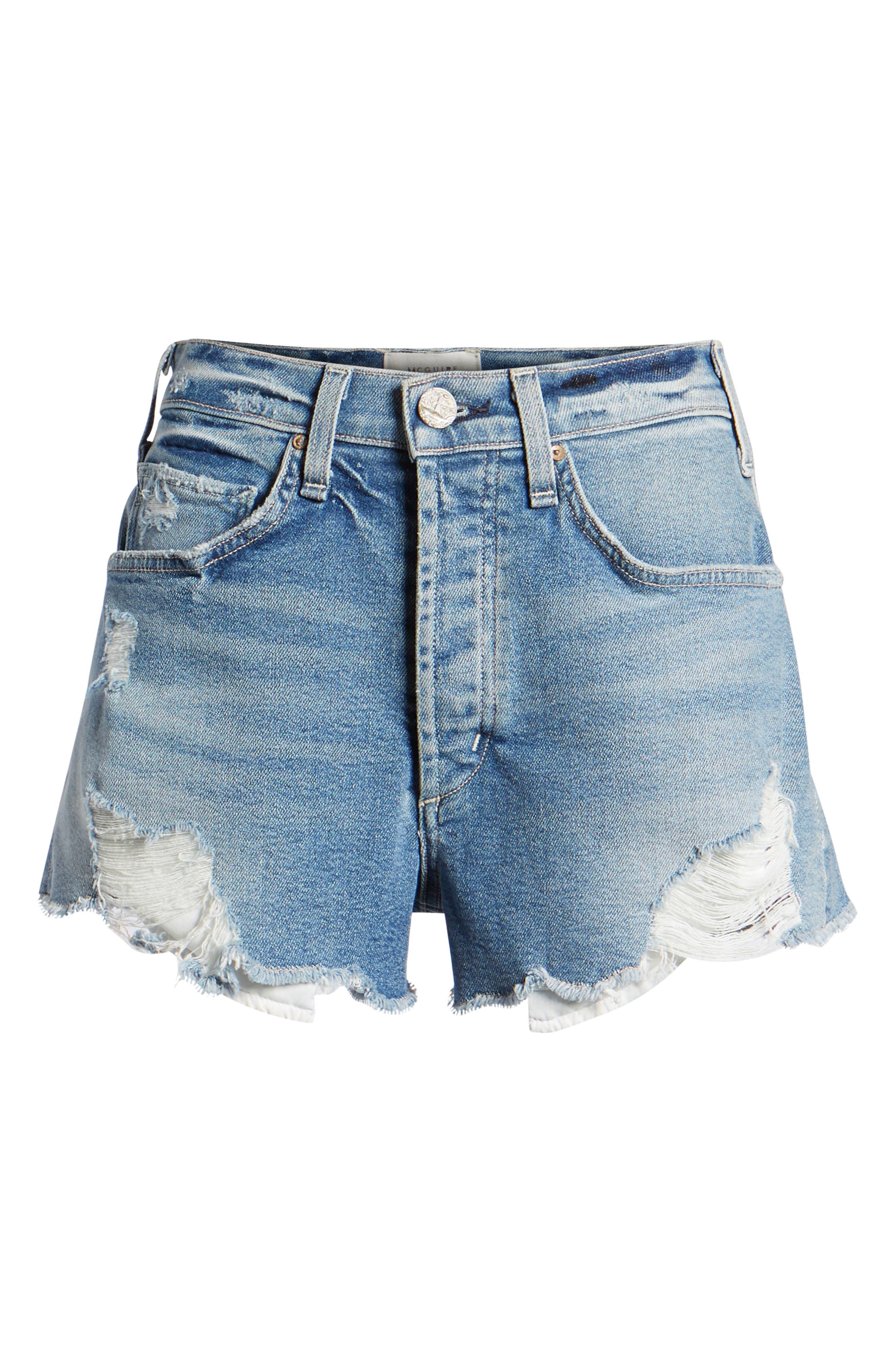 Georgia May Distressed Denim Shorts,                             Alternate thumbnail 7, color,                             450