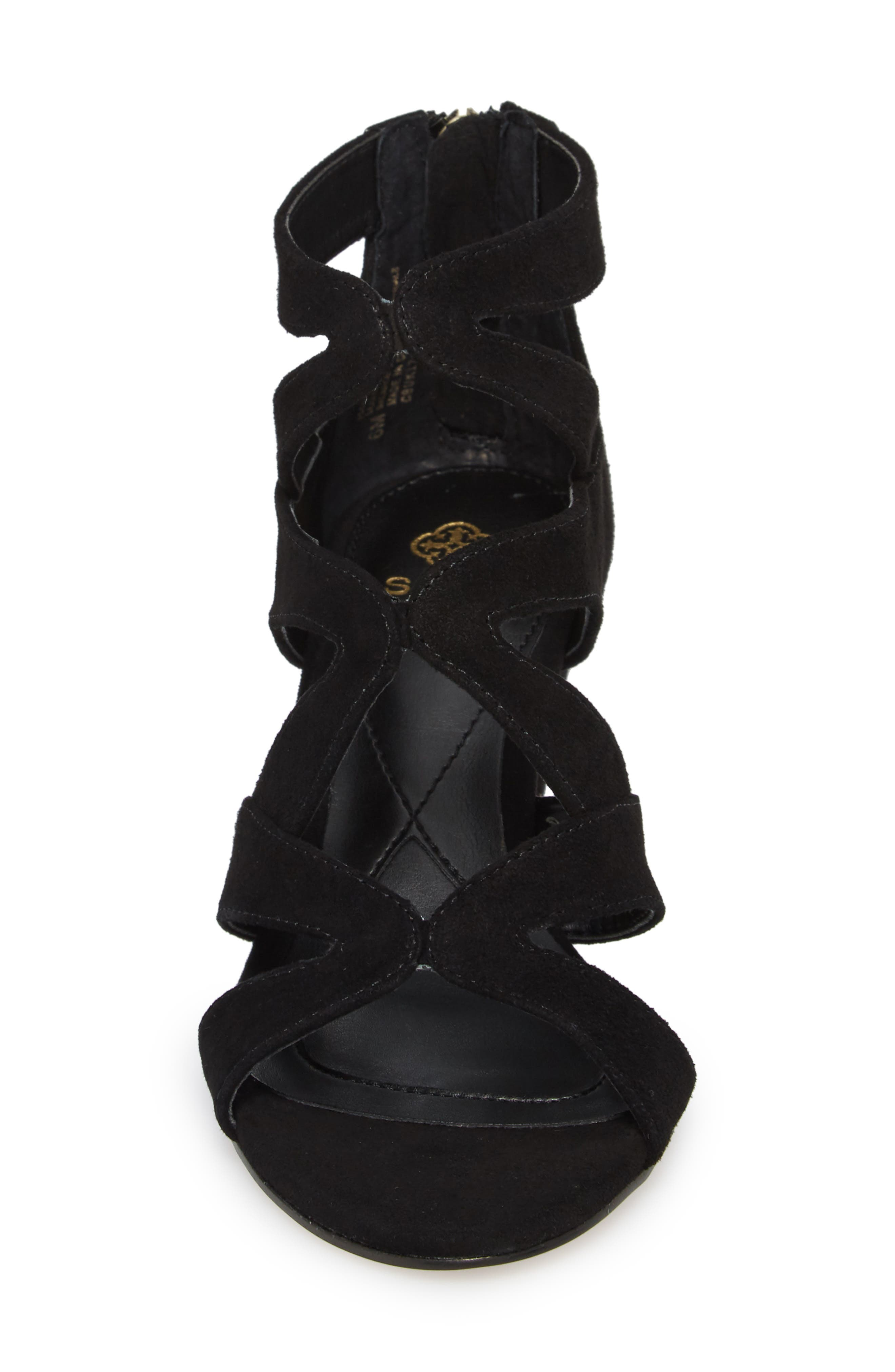 Filisha Wedge Sandal,                             Alternate thumbnail 4, color,                             BLACK SUEDE