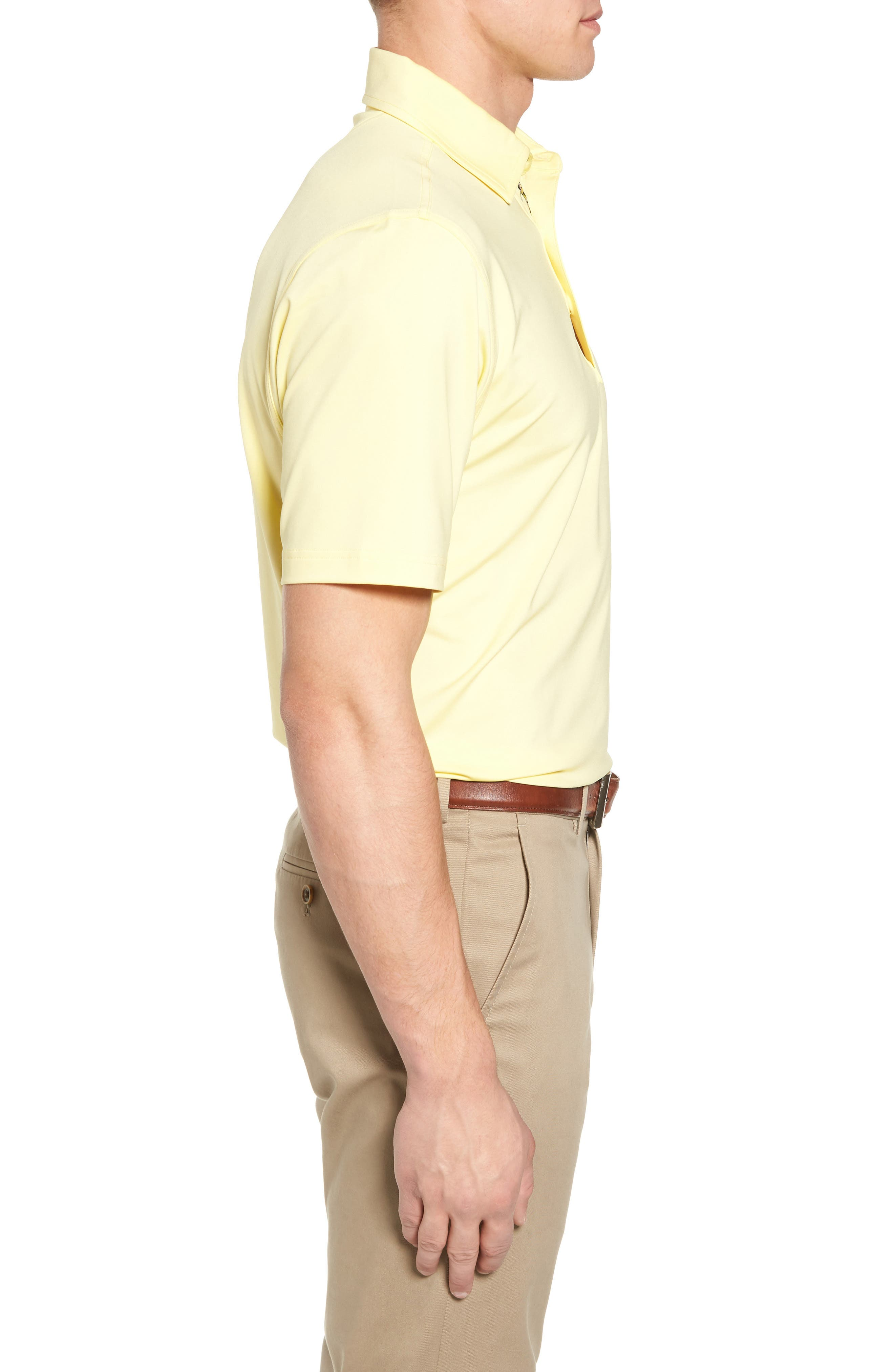 XH20 Regular Fit Stretch Golf Polo,                             Alternate thumbnail 3, color,                             CANARY