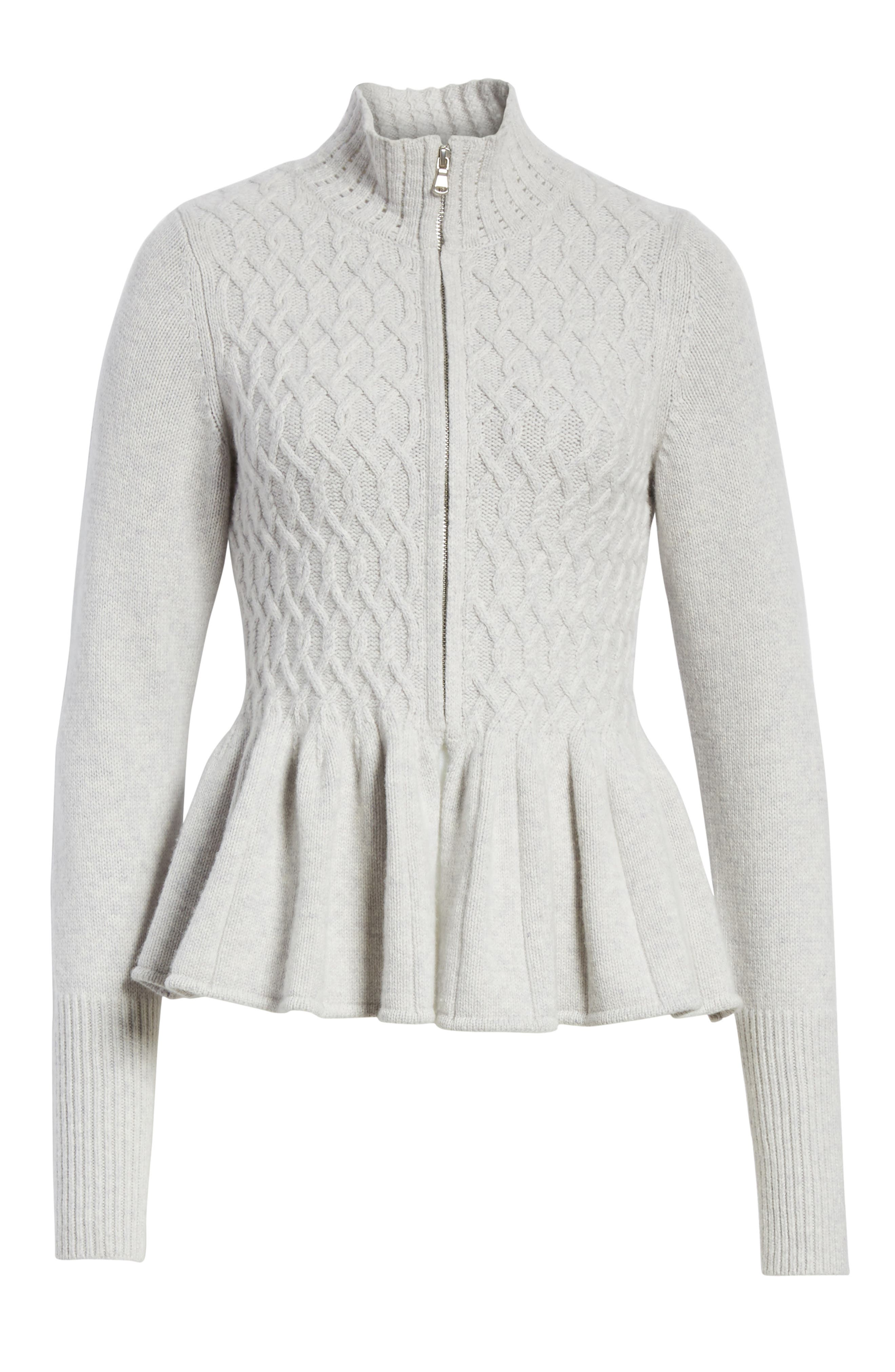 Cable Knit Front Zip Cardigan,                             Alternate thumbnail 6, color,                             058