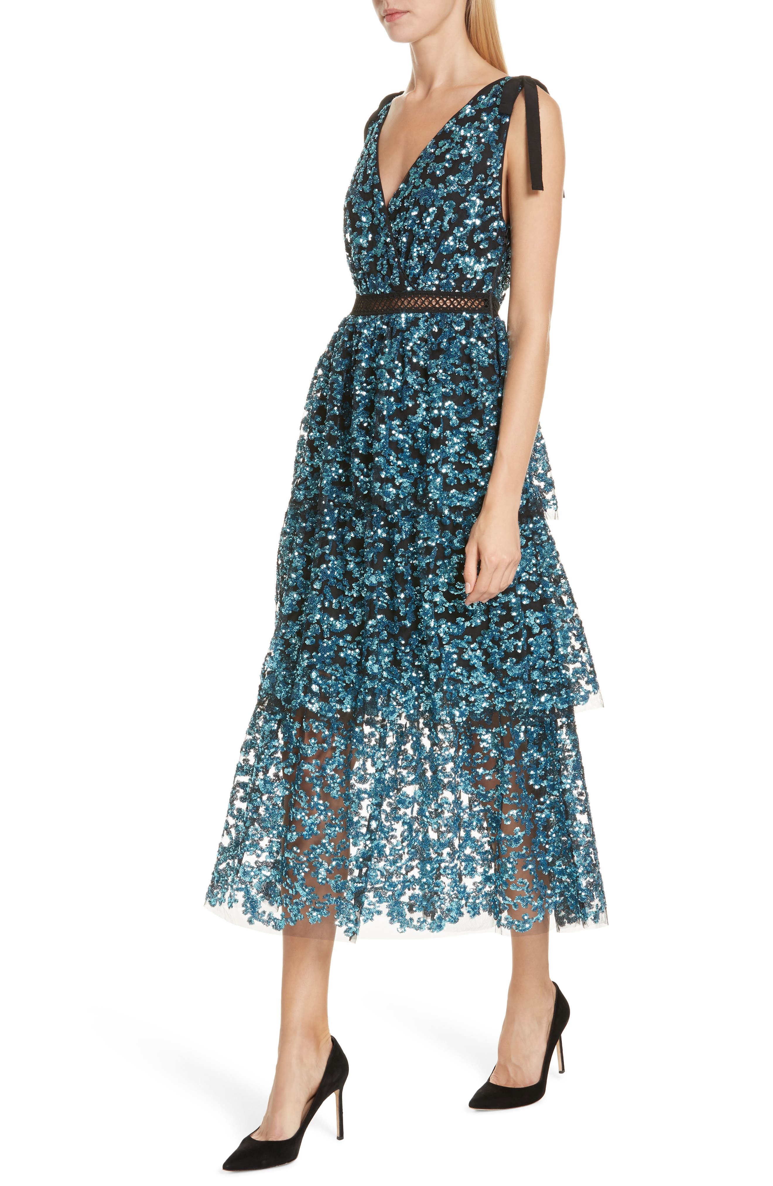 Tiered Sequined Midi Dress,                             Alternate thumbnail 4, color,                             BLUE