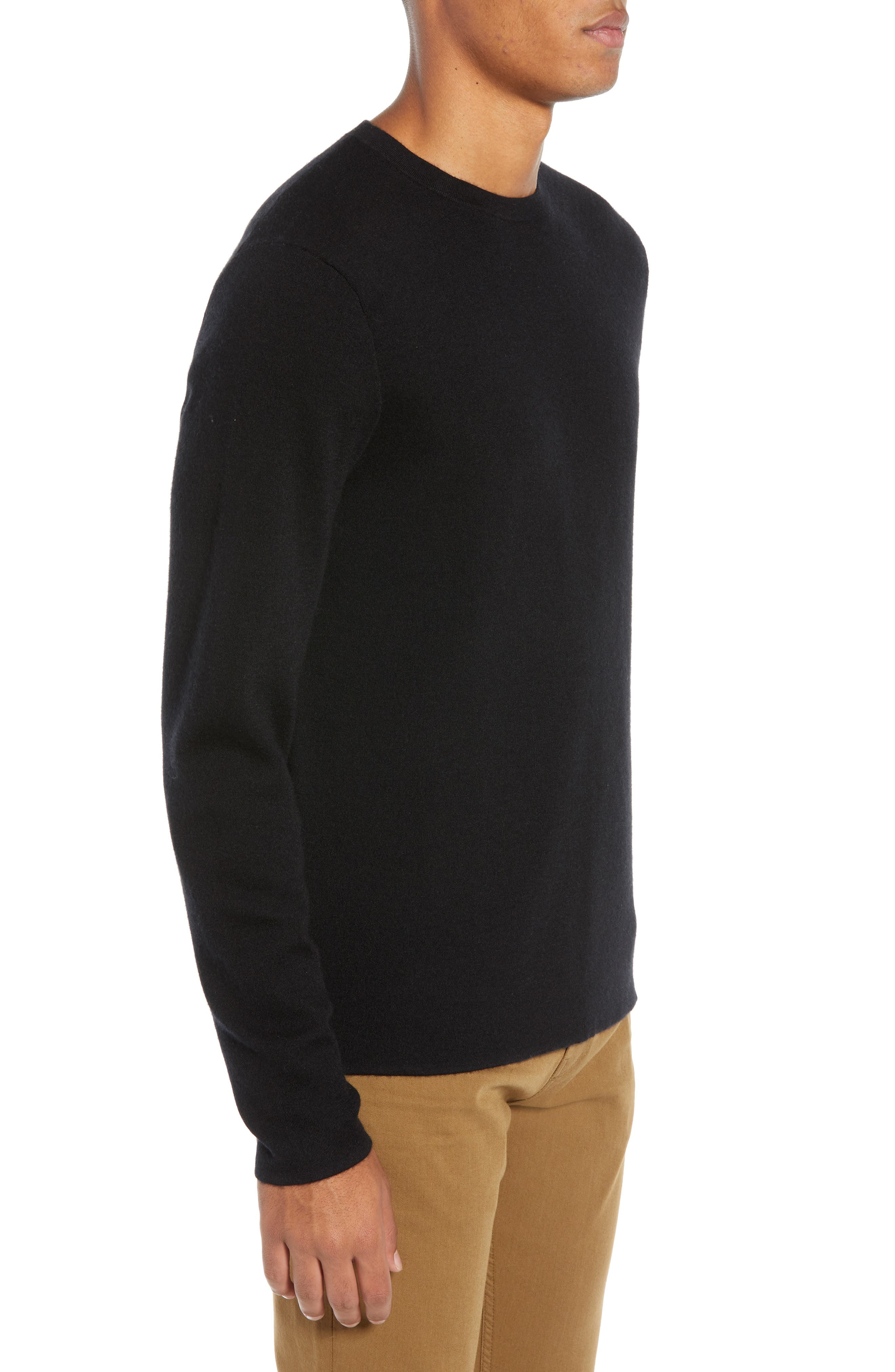 Crewneck Cashmere Sweater,                             Alternate thumbnail 3, color,                             BLACK CAVIAR