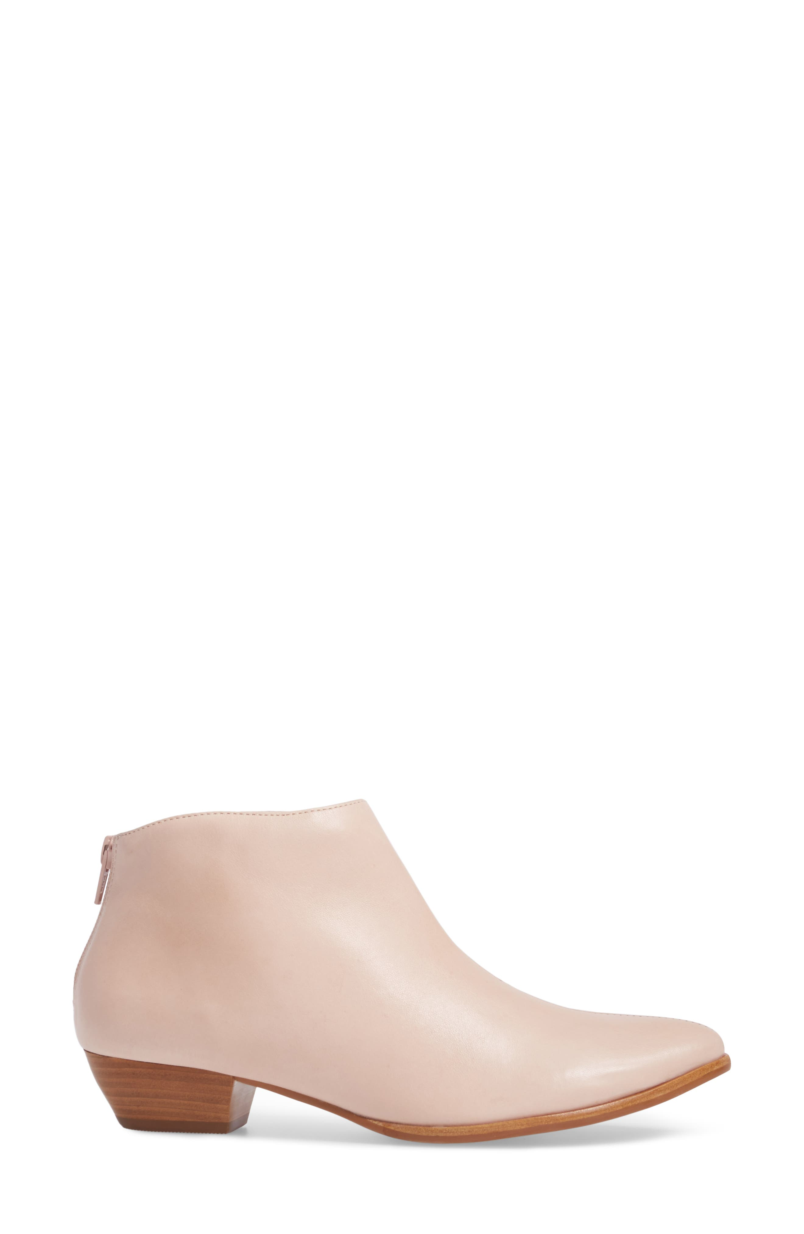 Aida Low Bootie,                             Alternate thumbnail 3, color,                             NUDE LEATHER