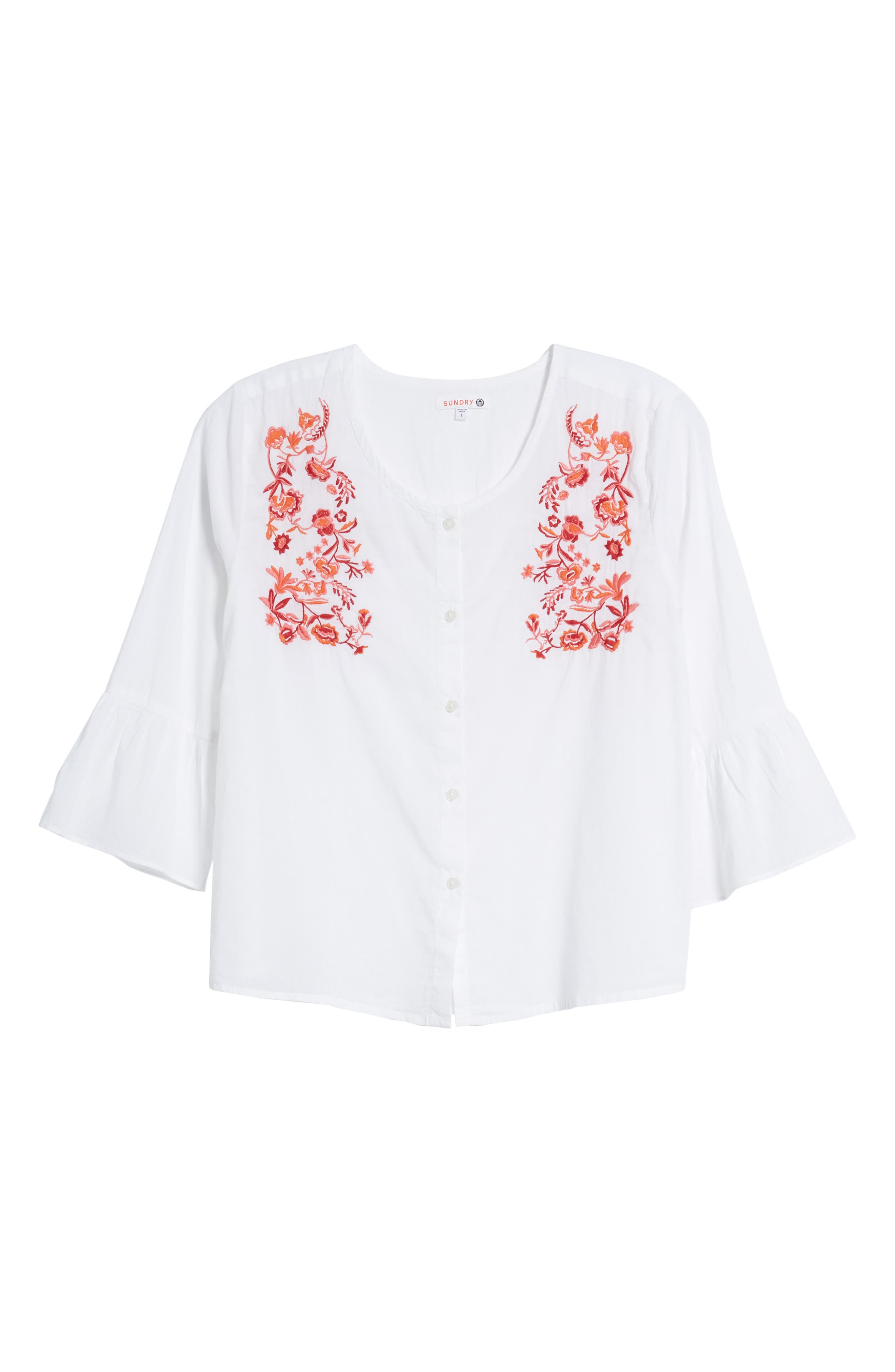 Embroidered Trumpet Sleeve Blouse,                             Alternate thumbnail 7, color,
